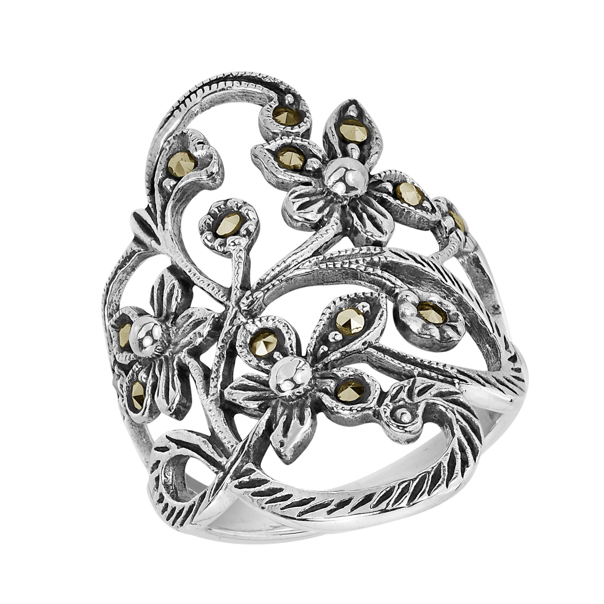 swirl band plain everyday pr aeravida ring marcasite silver sterling products details filigree rings