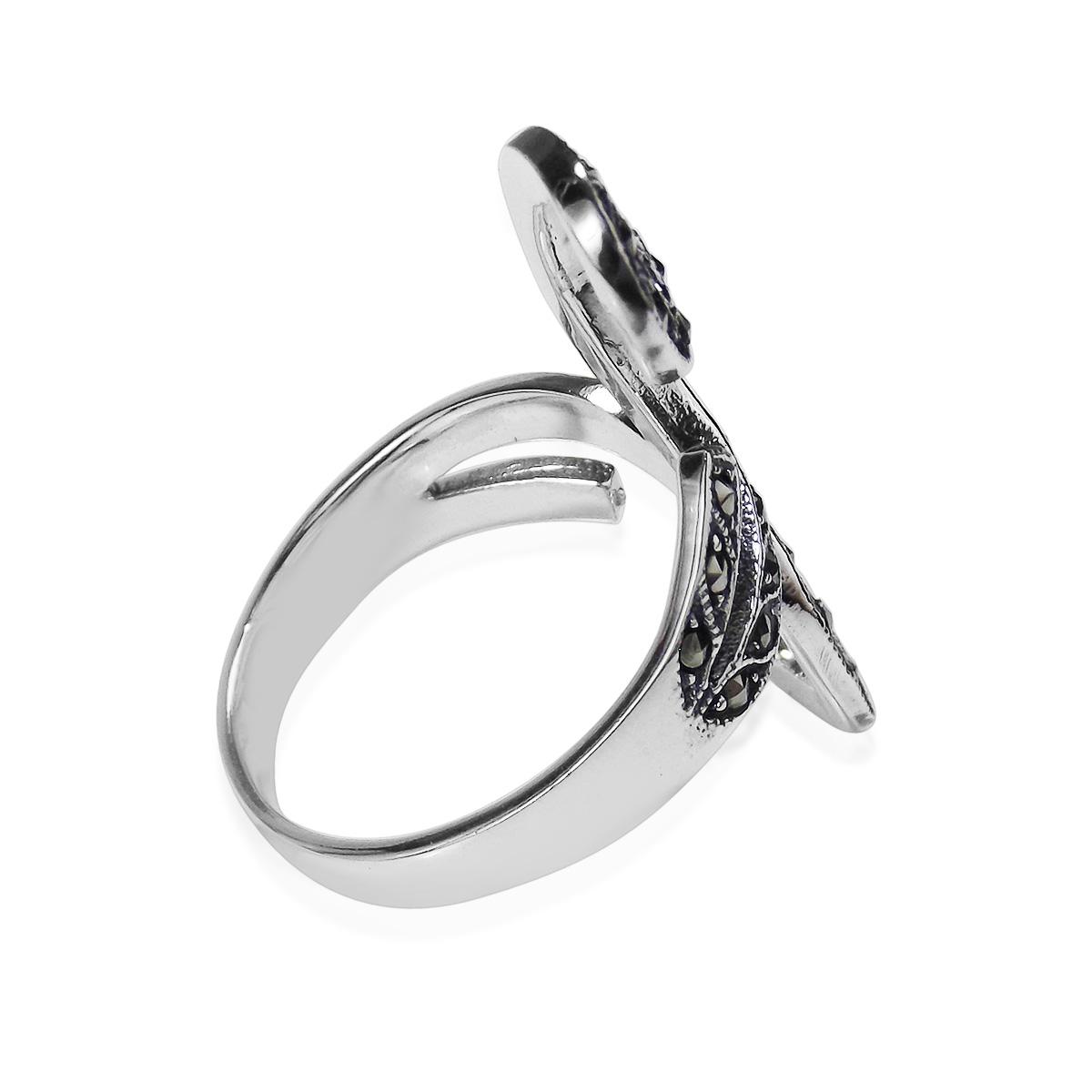 beautiful marcasite front swirl 925 silver ring 7 aeravida