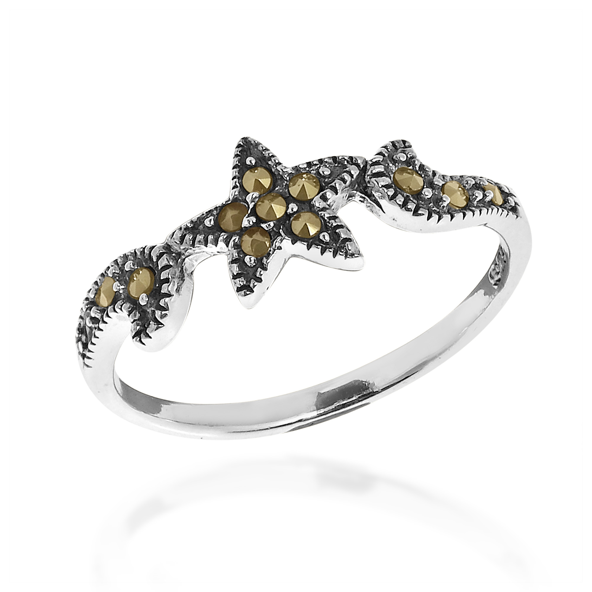 oxidised simulated overlapping silverly rings products sterling ring silver feather deco leaf marcasite art womens and