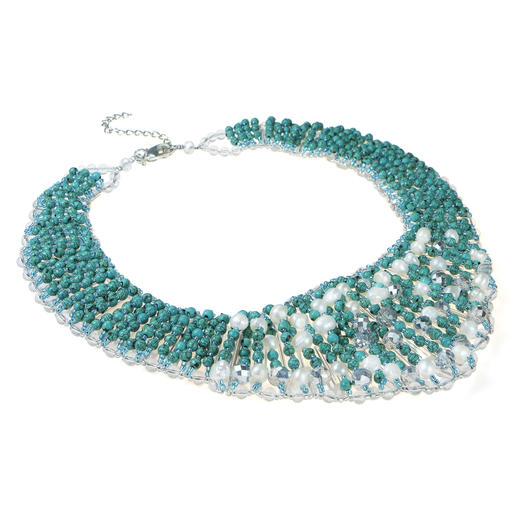 Breathtaking Turquoise Pearl Crystal Collar Statement Necklace ...