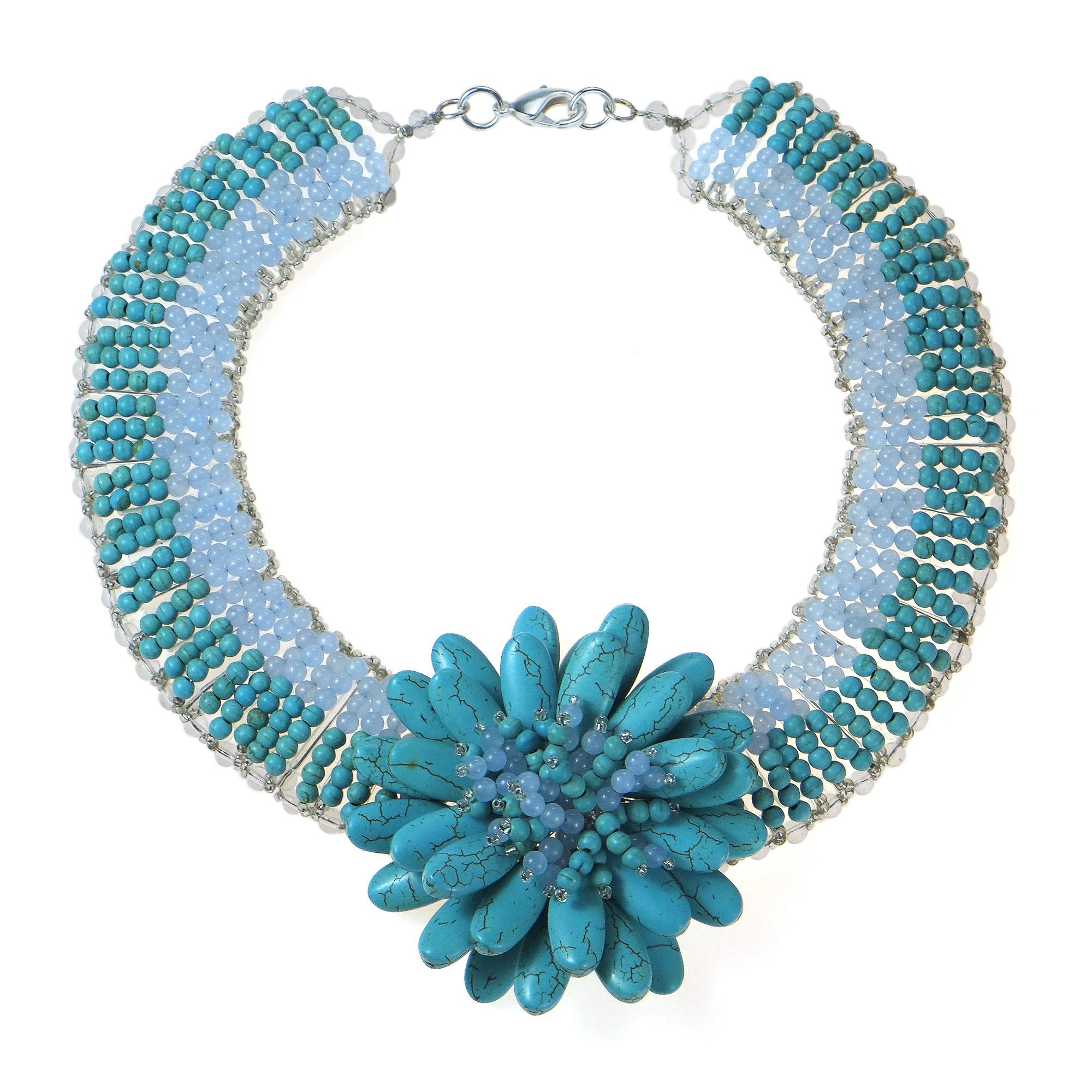 Exotic Lotus Turquoise Flower Blossom Statement Necklace Aeravida