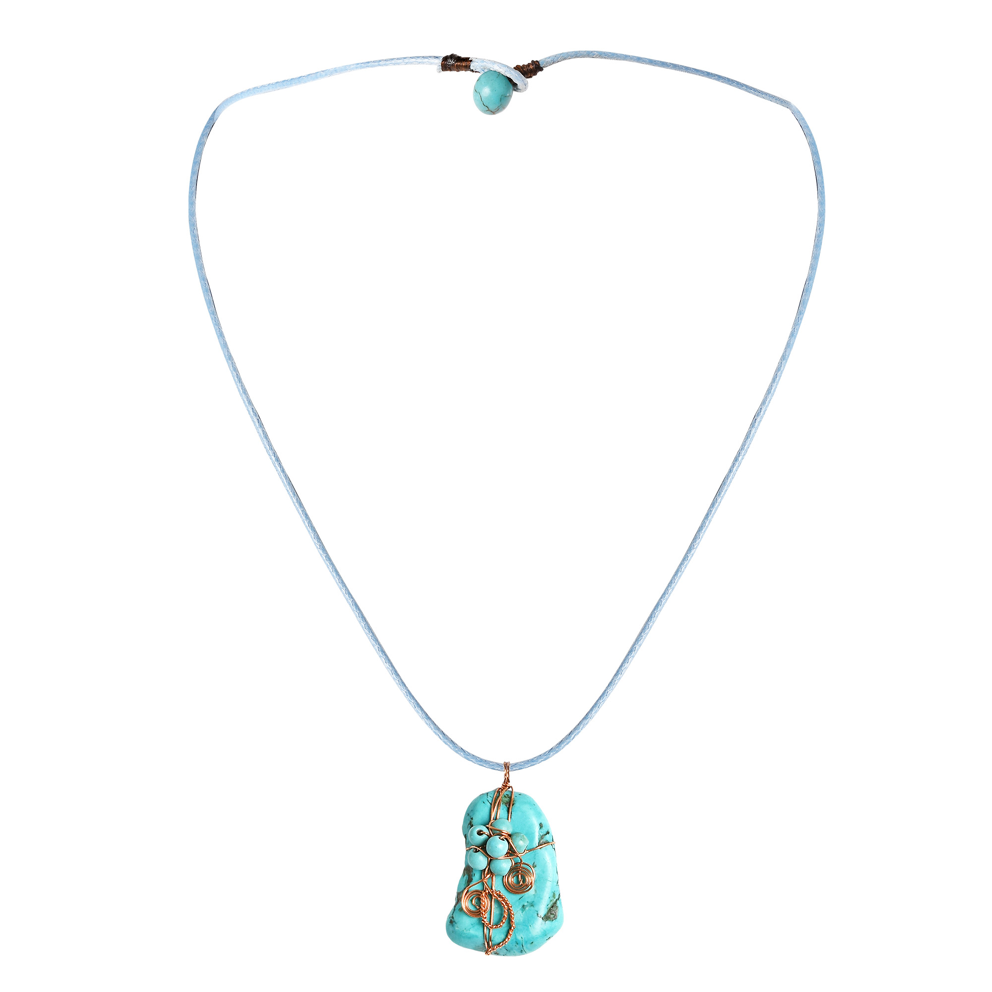 products beautiful stones by knotted turquoise red clusters design features or hand thailand pendant details crafted artisan this btq reconstructed necklaces handmade necklace stone tor in grace aeravida blue oval from ns