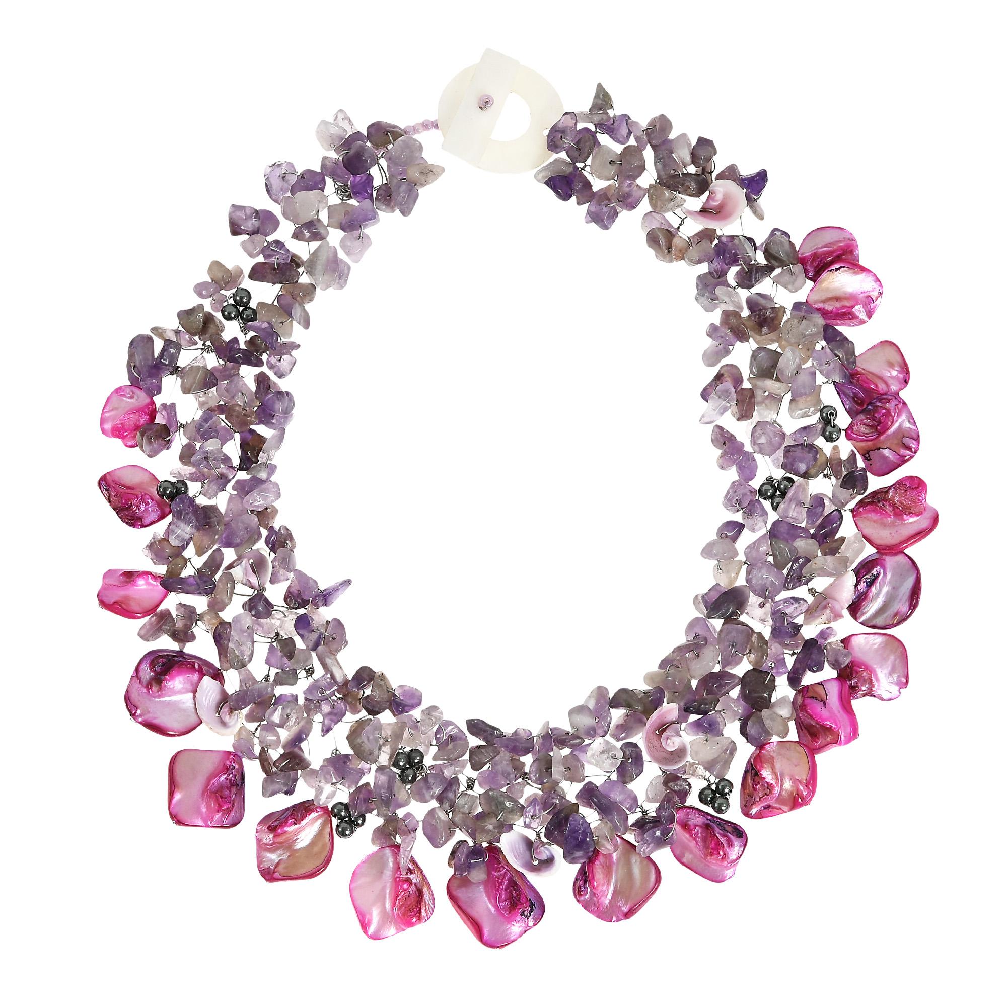 Bold Colorful Purple Amethyst, Pearls, Seashell Cluster ...