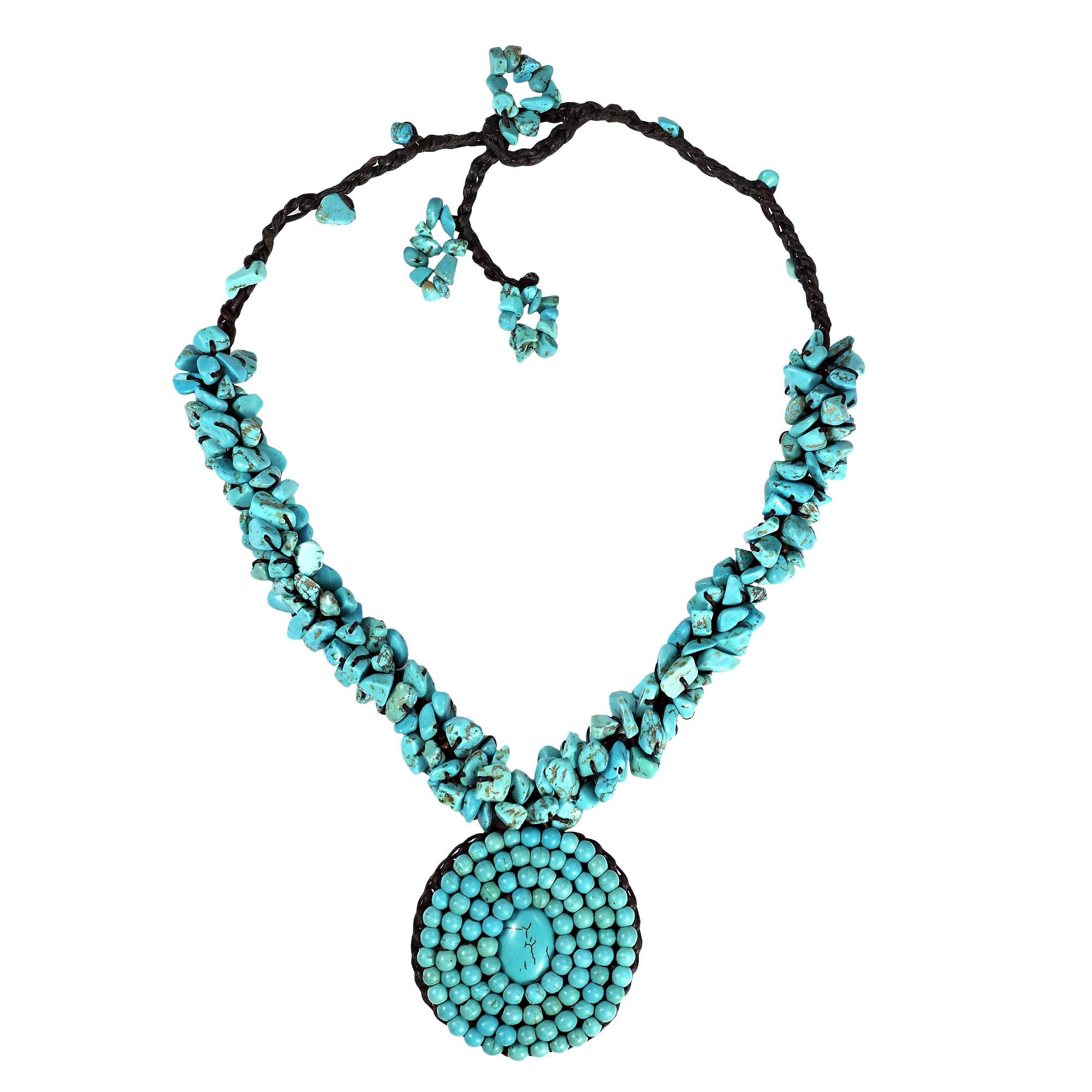 blue turquoise mosaic pendant cluster necklace