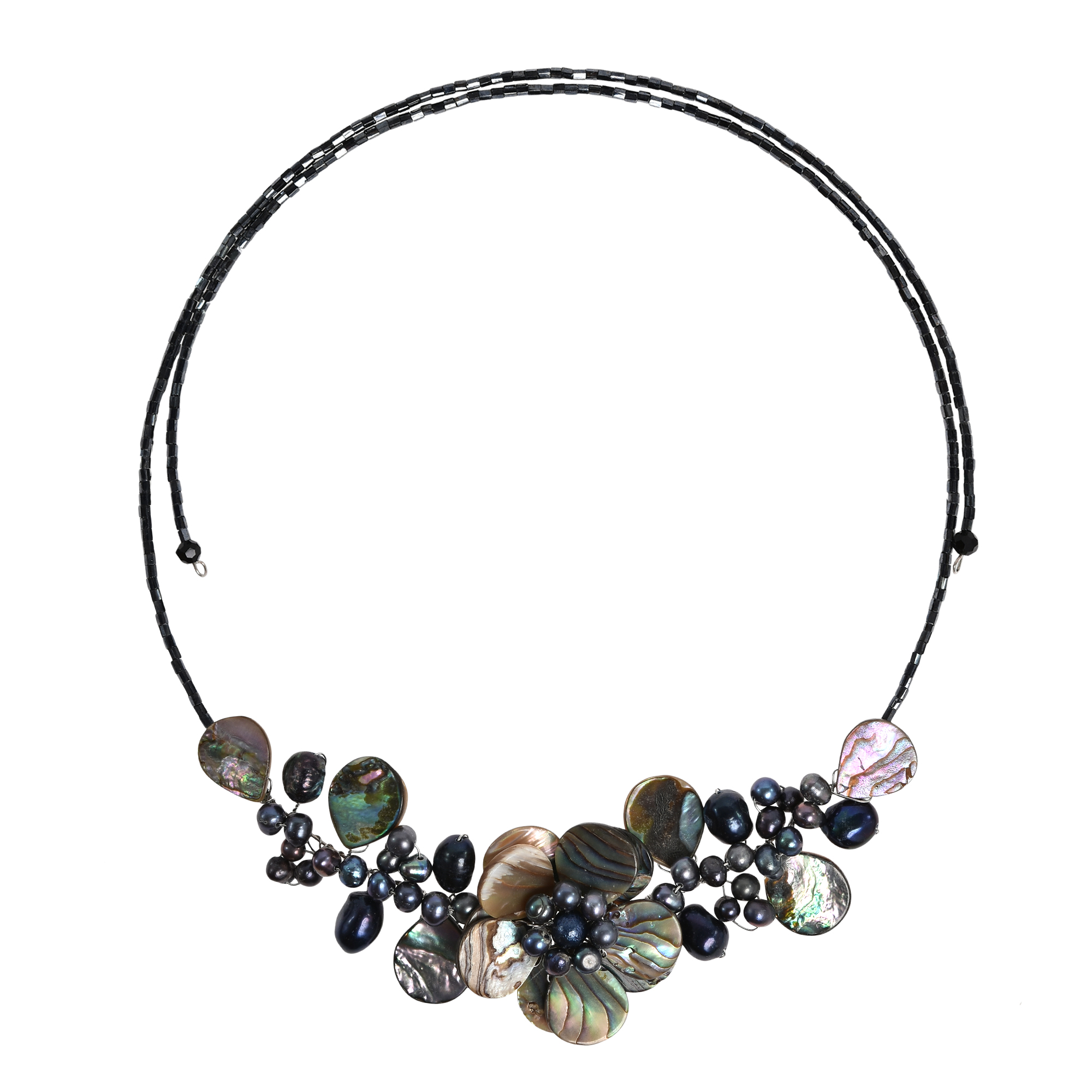 lotus wreath abalone shell memory wire wrap necklace