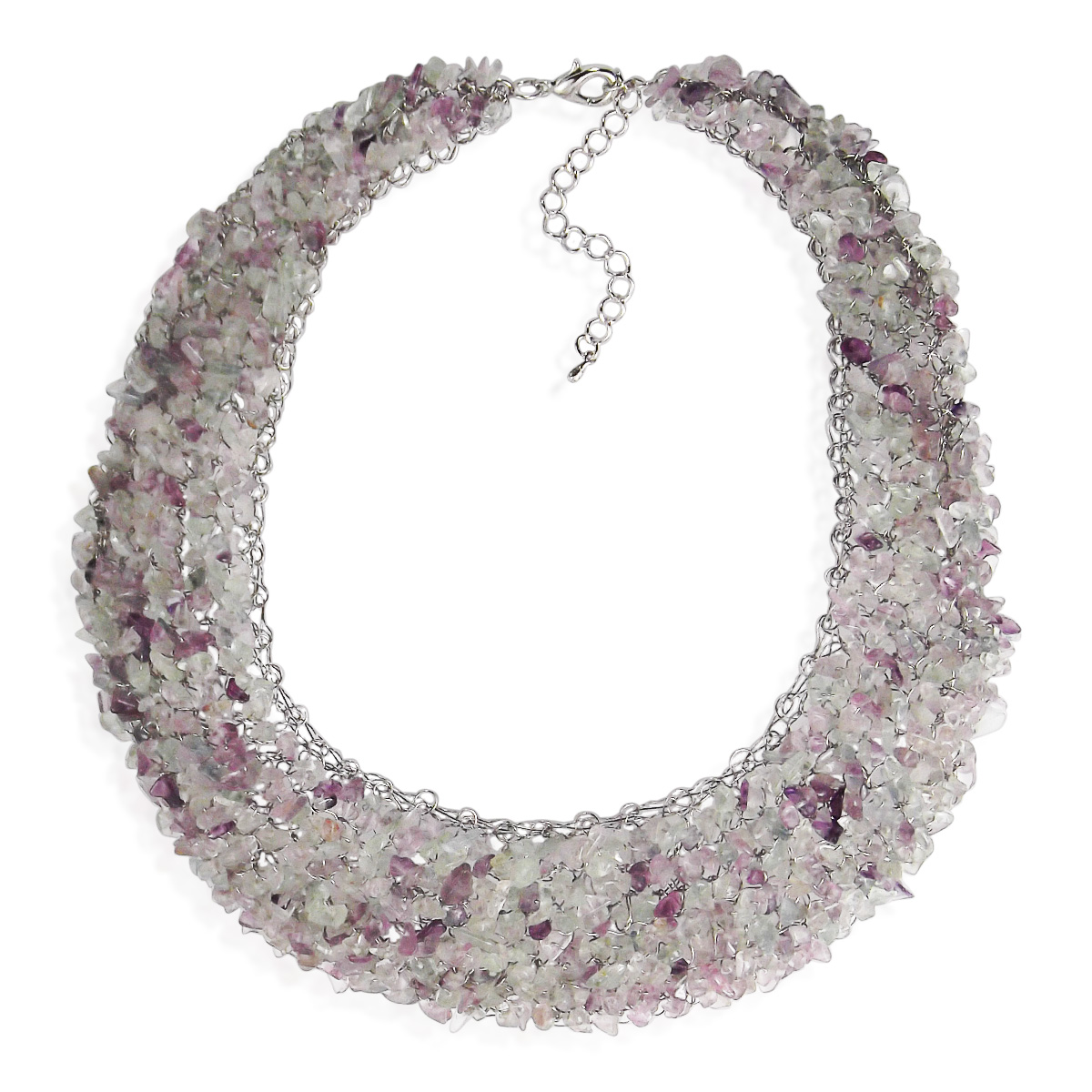 Collared Cluster Bicolor Purple Green Fluorite Wire Works Necklace ...