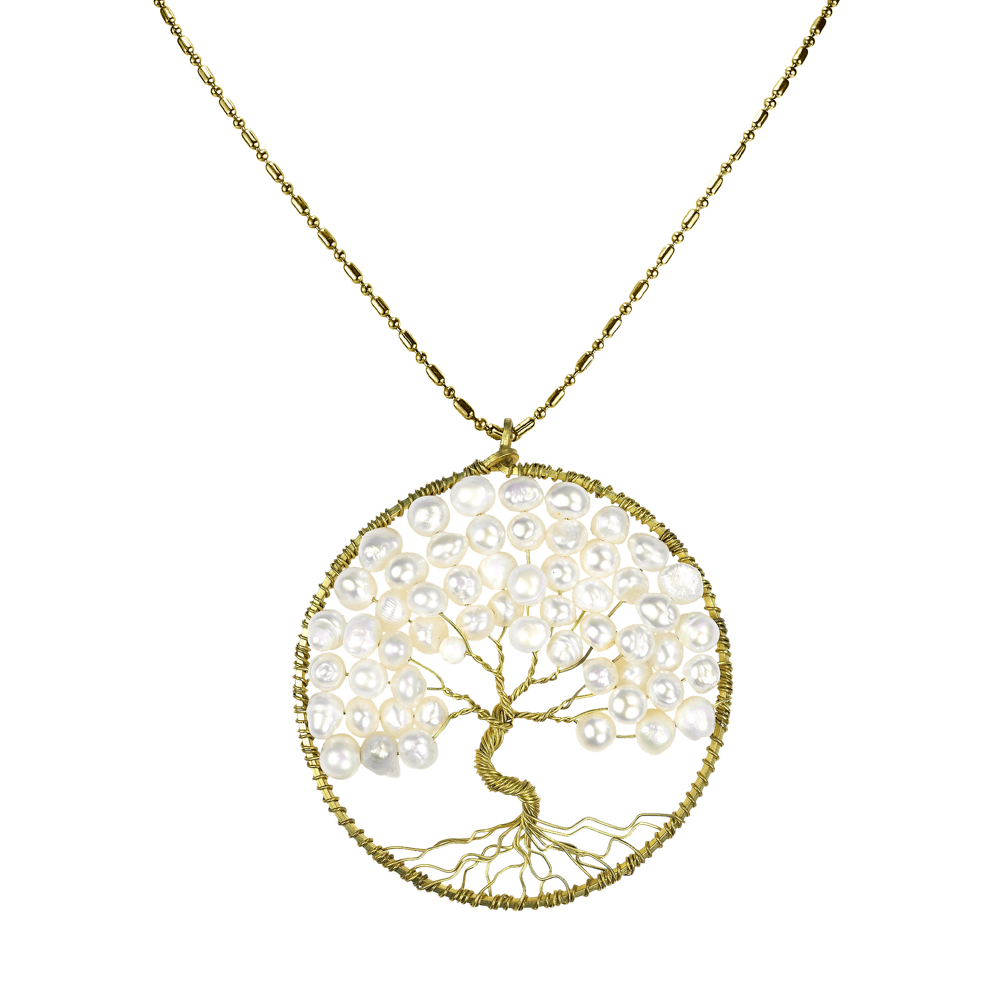 White pearl eternal tree of life brass long necklace aeravida local aeravida artisan kannika handcrafted this breathtaking necklace this unique necklace features the symbolic tree of life made with natural gemstones aloadofball Choice Image