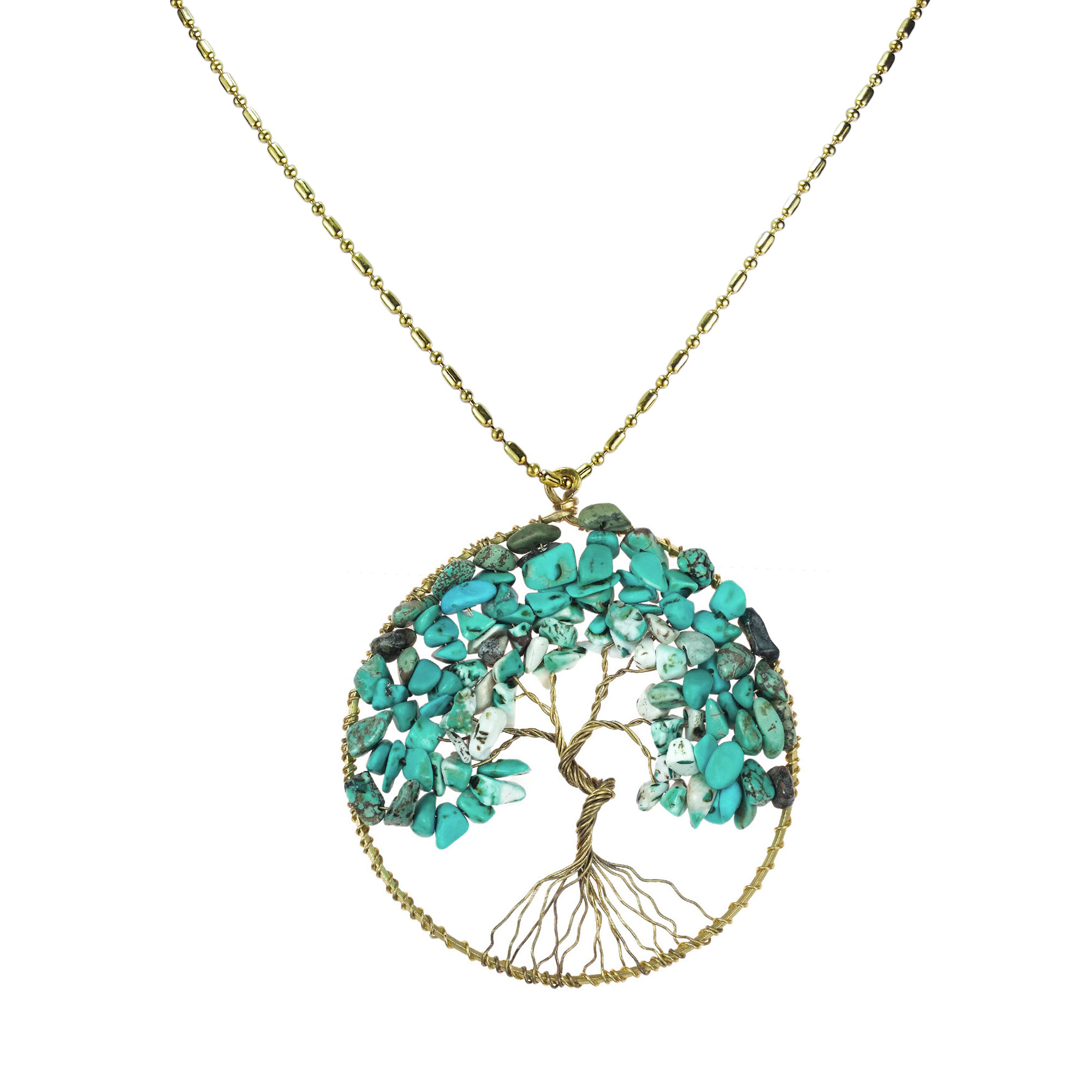 Turquoise stone eternal tree of life brass long necklace for Unique stones for jewelry making