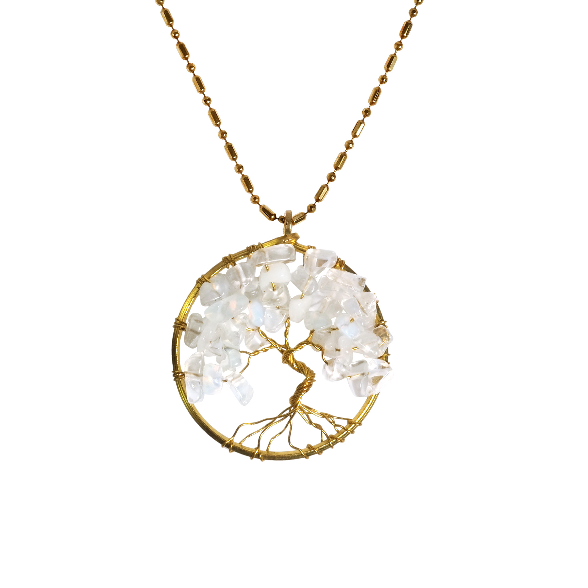 Charisma 30mm Tree Of Life White Moonstone And Brass Pendant