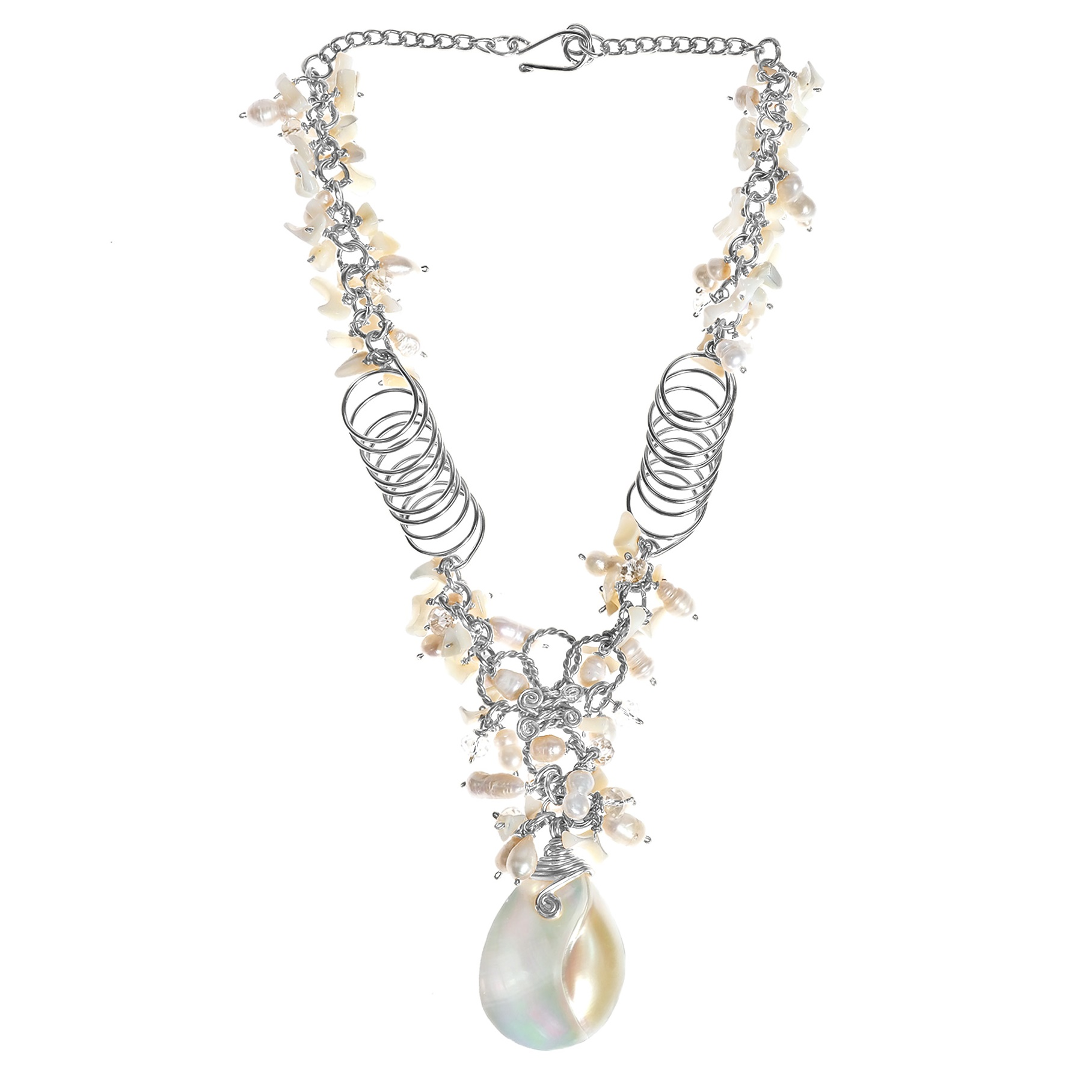 Exotic Cultured FW Pearl and Shell Aluminum Chain Statement Necklace ...