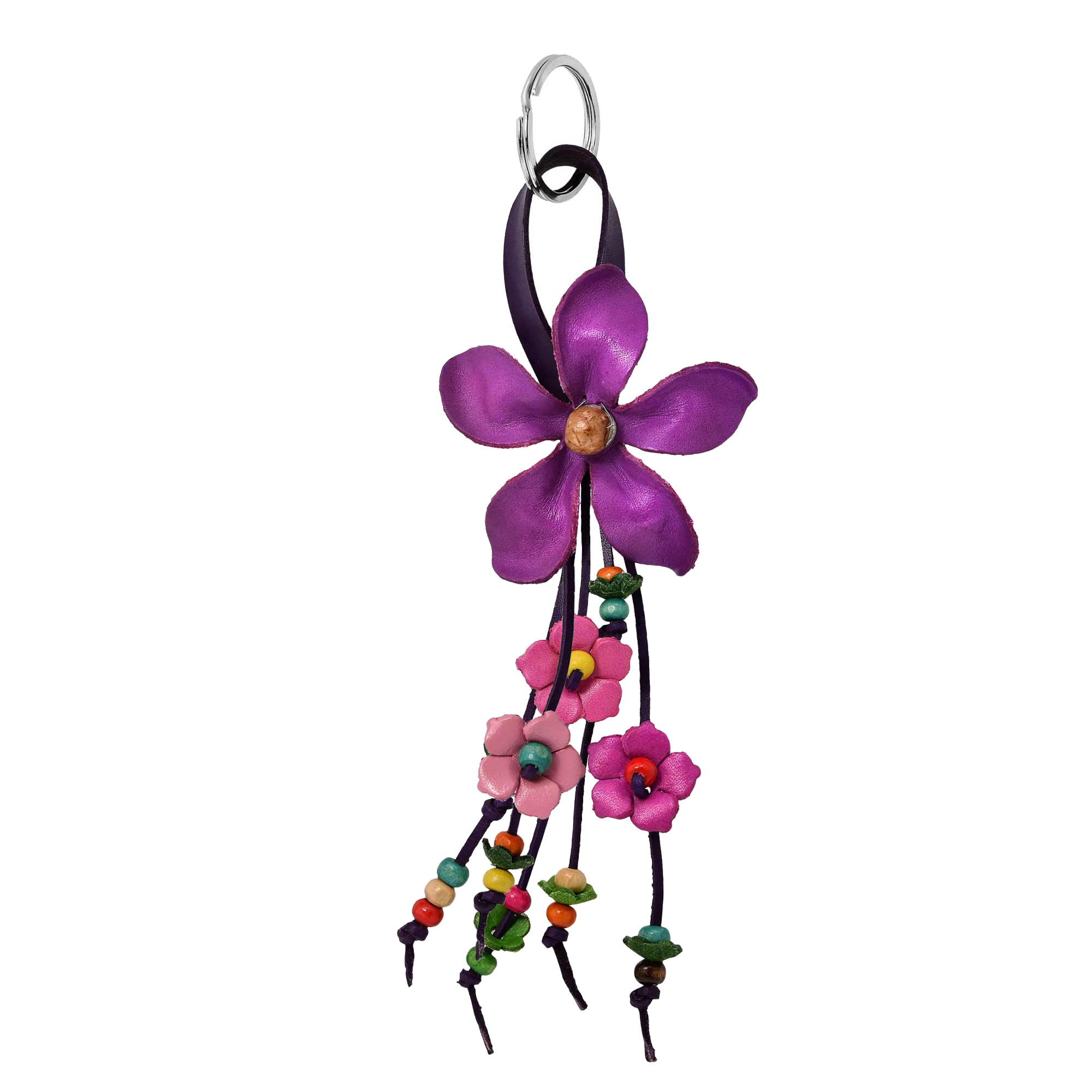 Hanging Purple Bouquet Of Leather Flowers Wood Accented Keychain