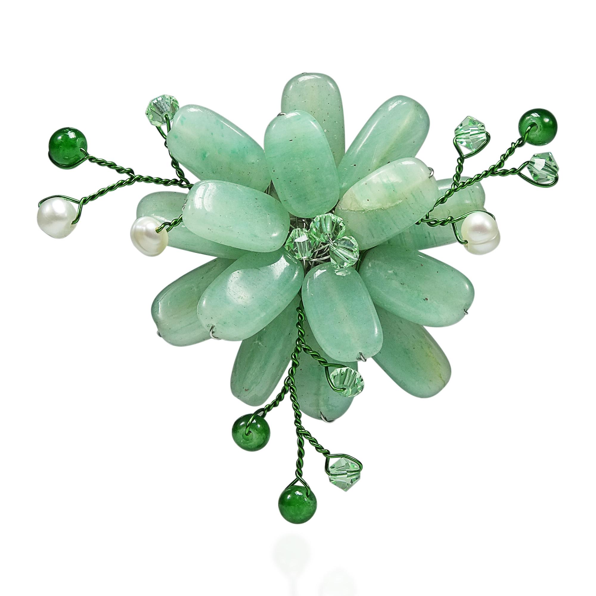 Dark Green Charming Lotus Flower Aventurine Stone Pin Brooch Aeravida