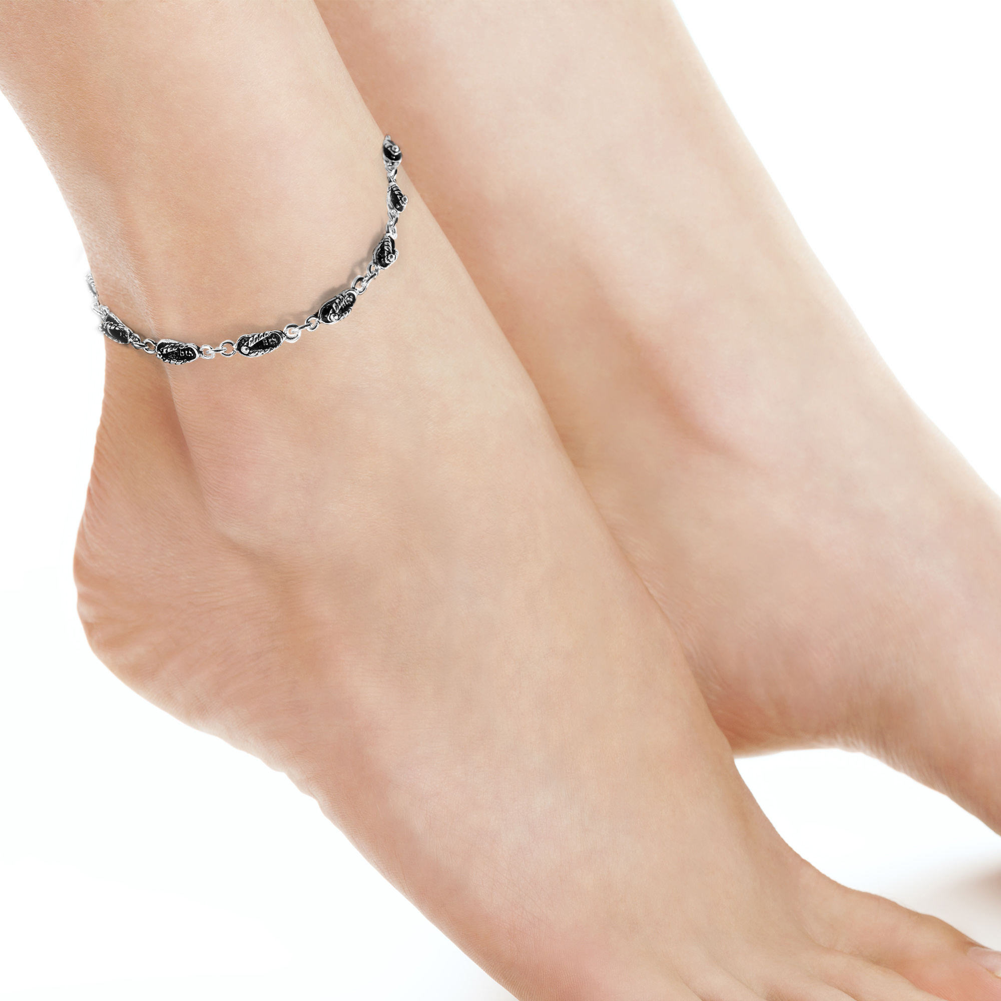 dragonfly in inch silver sterling anklet