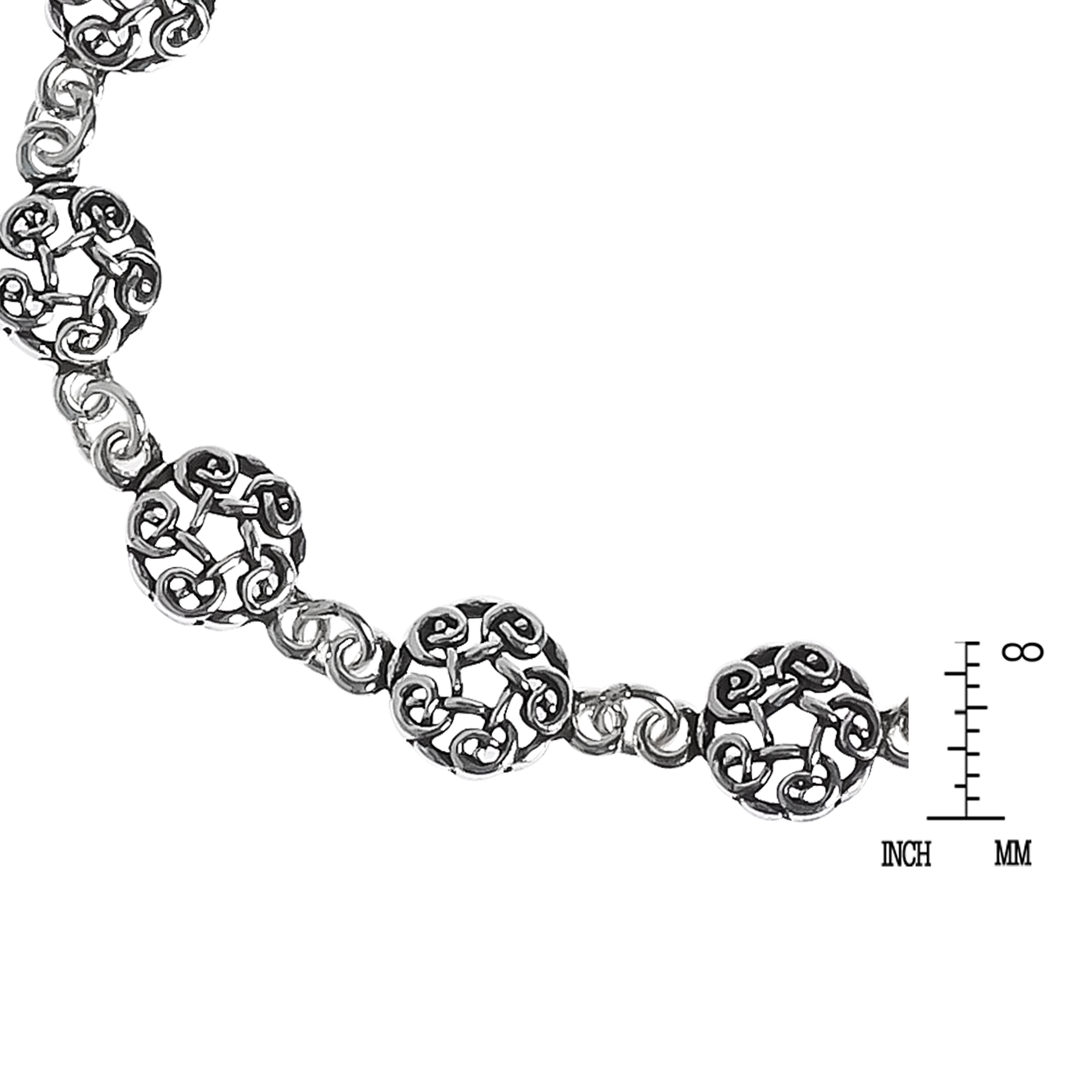 Celtic Knot Donut Link .925 Sterling Silver Eternity Bracelet - AeraVida