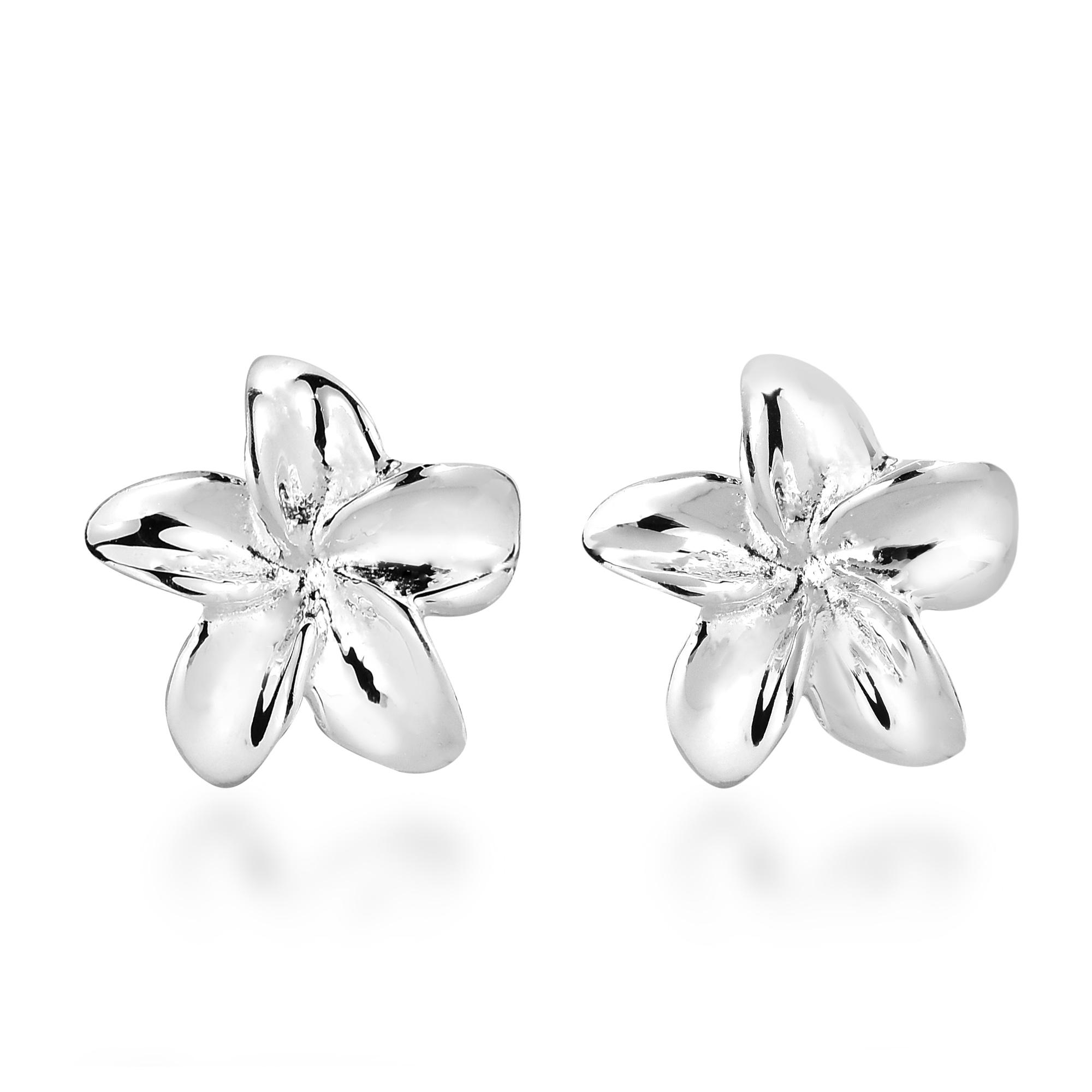Petite Hawaiian Plumeria Flower Sterling Silver Post Earrings Aeravida