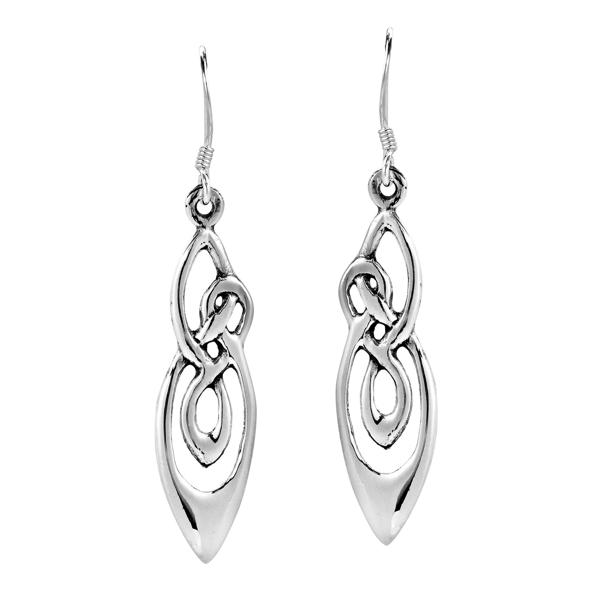 Celtic Knot 925 Sterling Silver Fish Hook Dangle Drop Women Earring FOS7nOY
