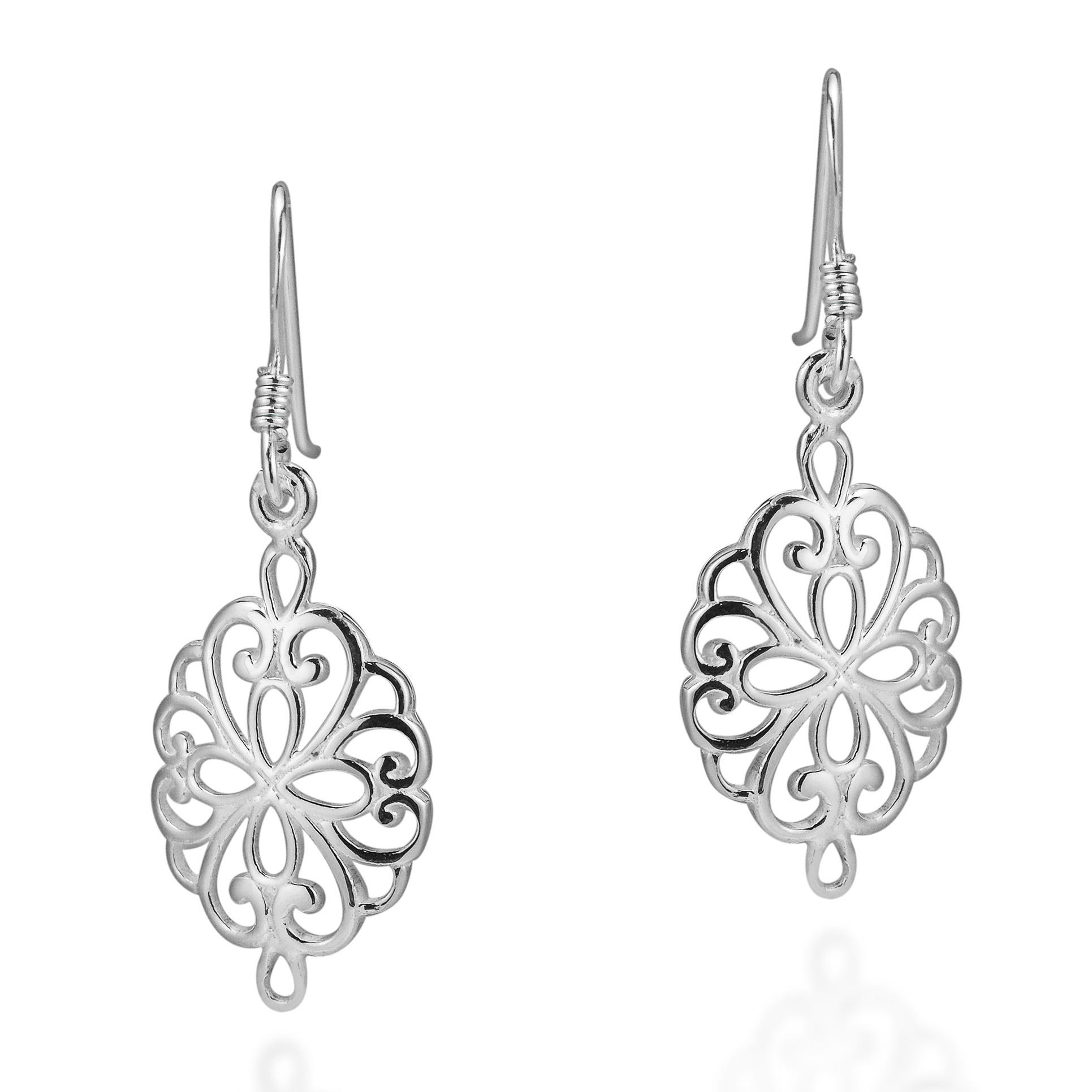 Timeless Elegance Filigree .925 Sterling Silver Dangle Earrings ...