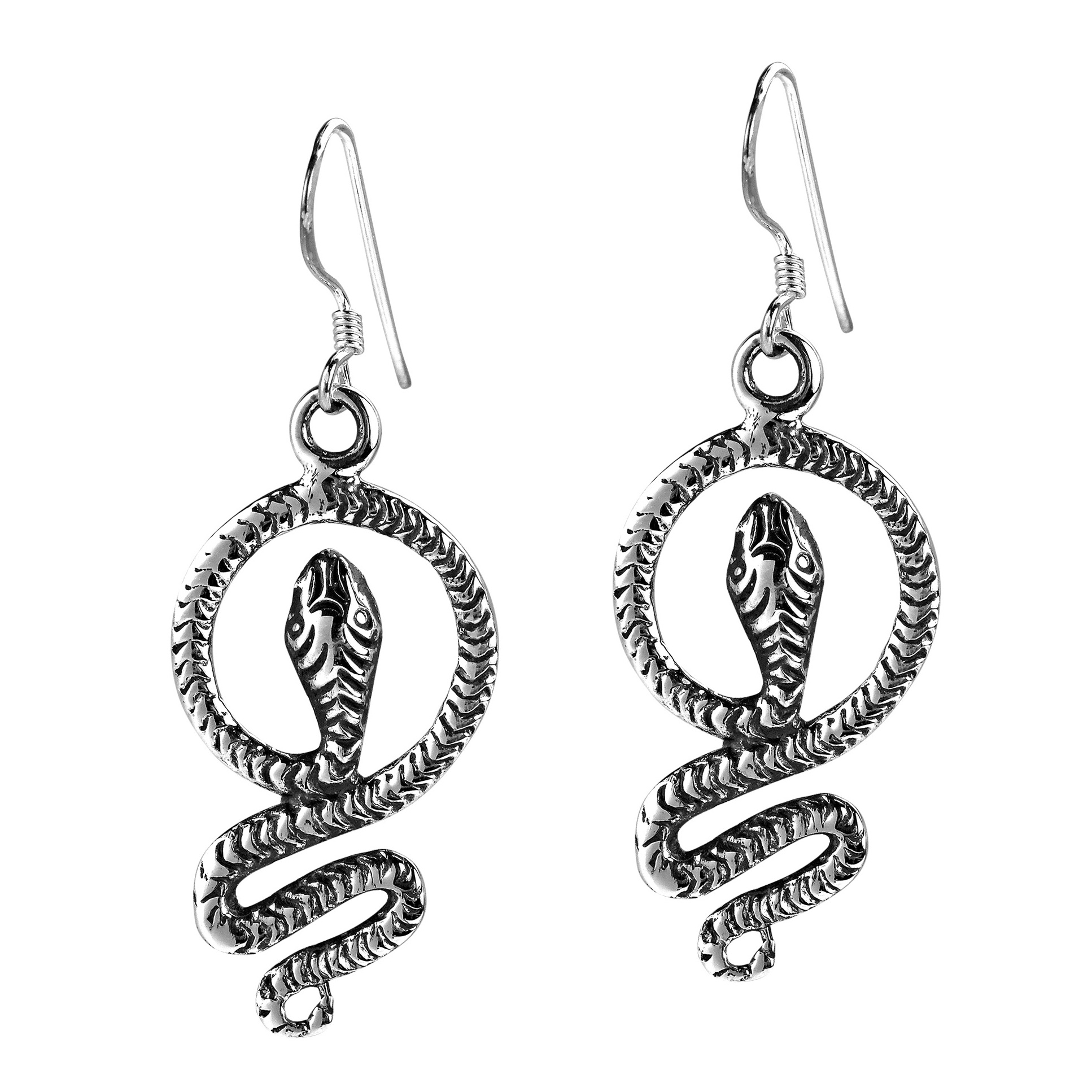 Vintage Serpent  925 Sterling Silver Snake Dangle Earrings - AeraVida