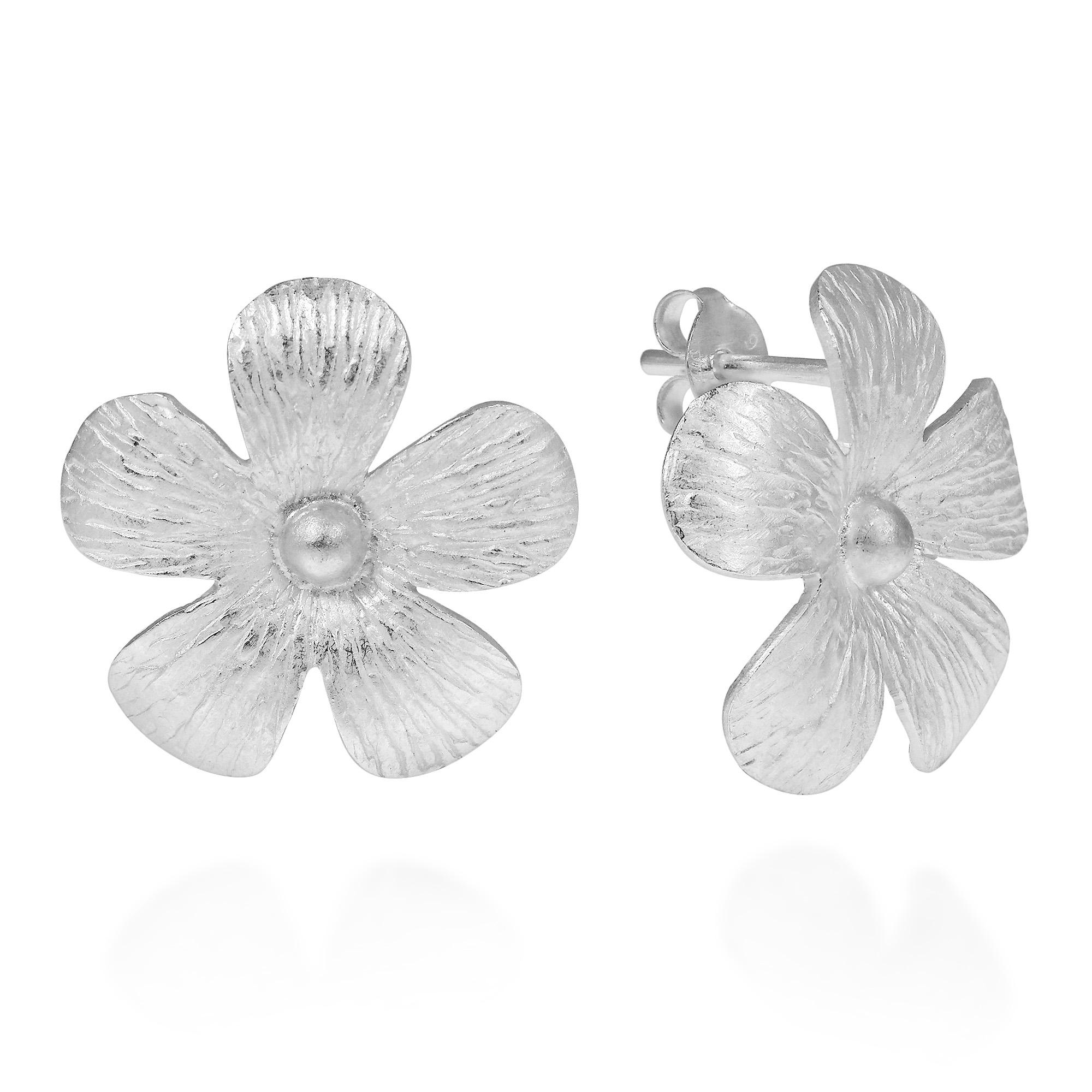 Handmade Hawaiian Plumeria Flower Satin 925 Silver Post Earrings