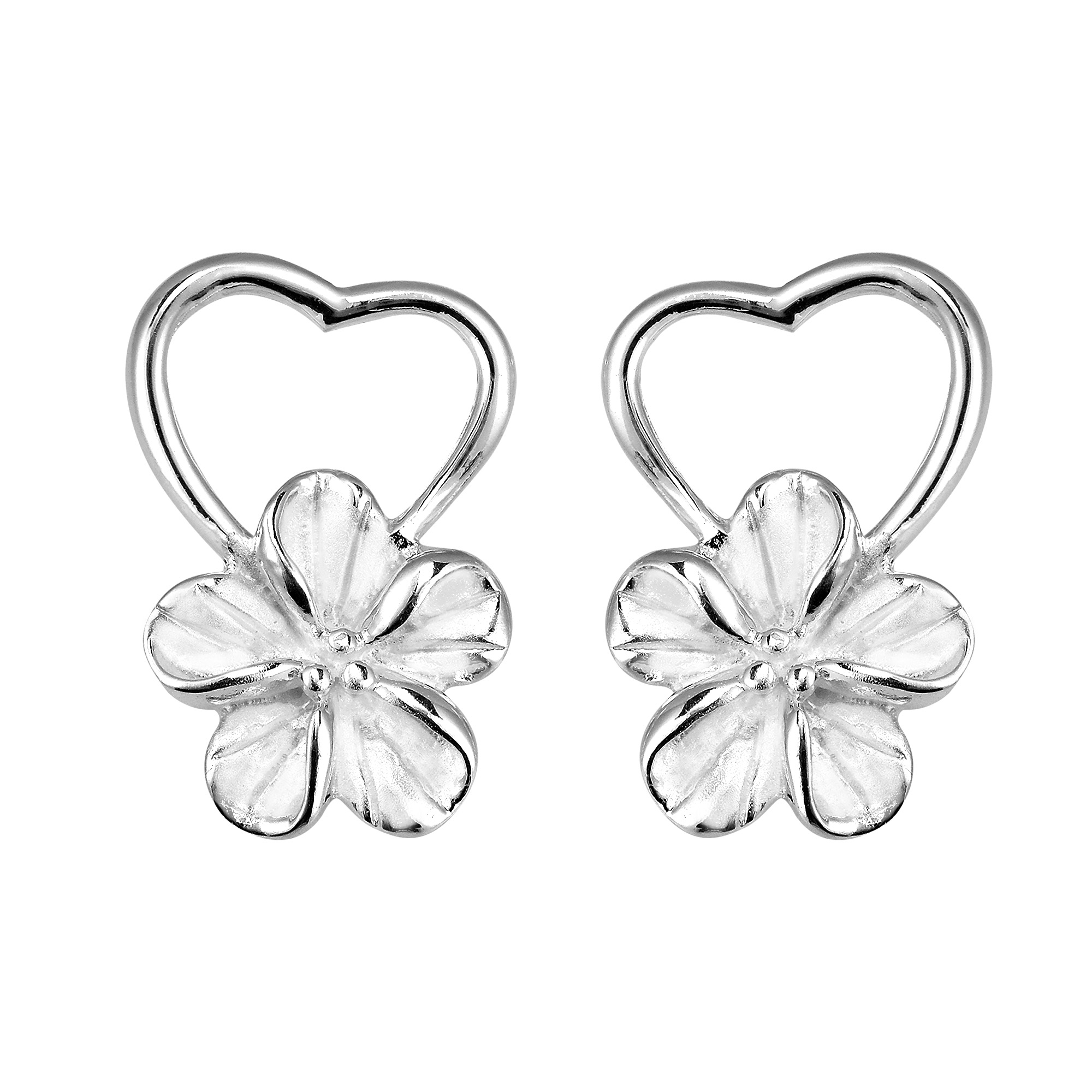 Pure Heart Hawaiian Plumeria Flower 925 Silver Earrings Aeravida