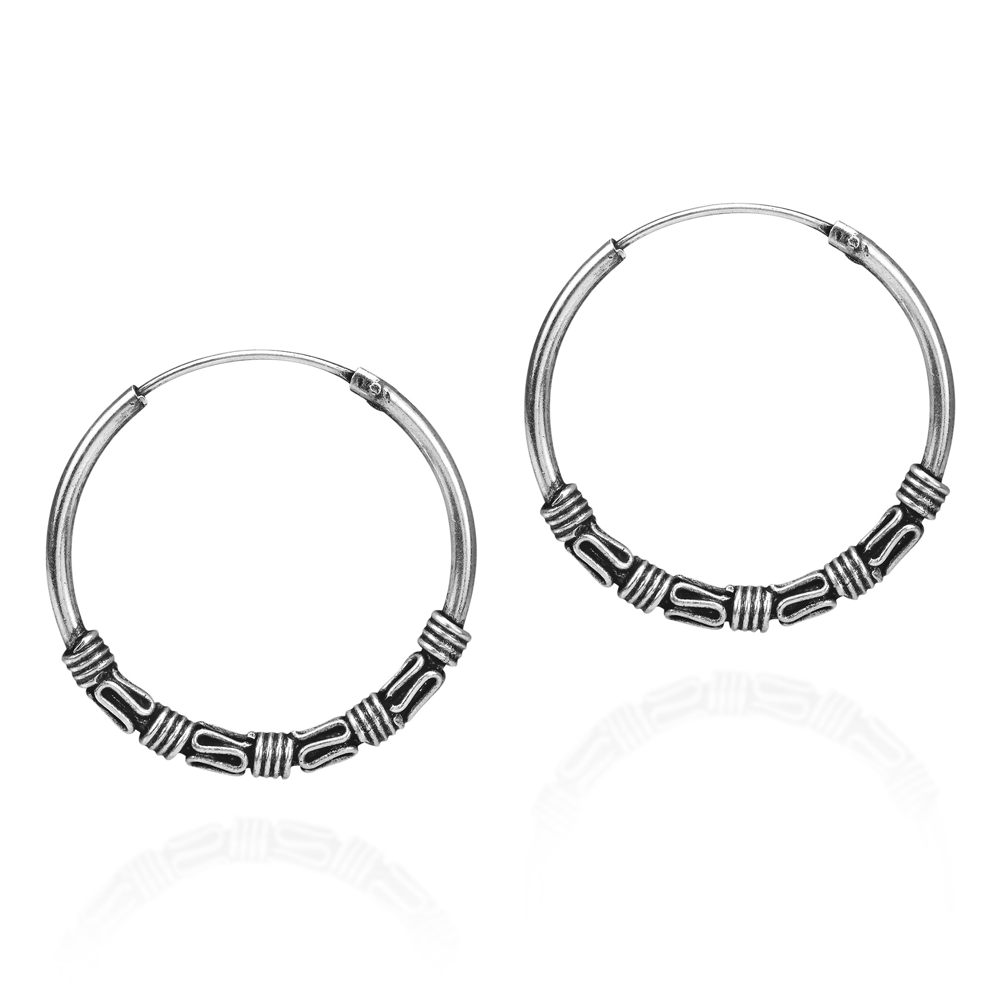 Katsaya From Thailand Handcrafted These Exotic Earrings The Hoop Were With Sterling Silver And Centered Balinese Styling