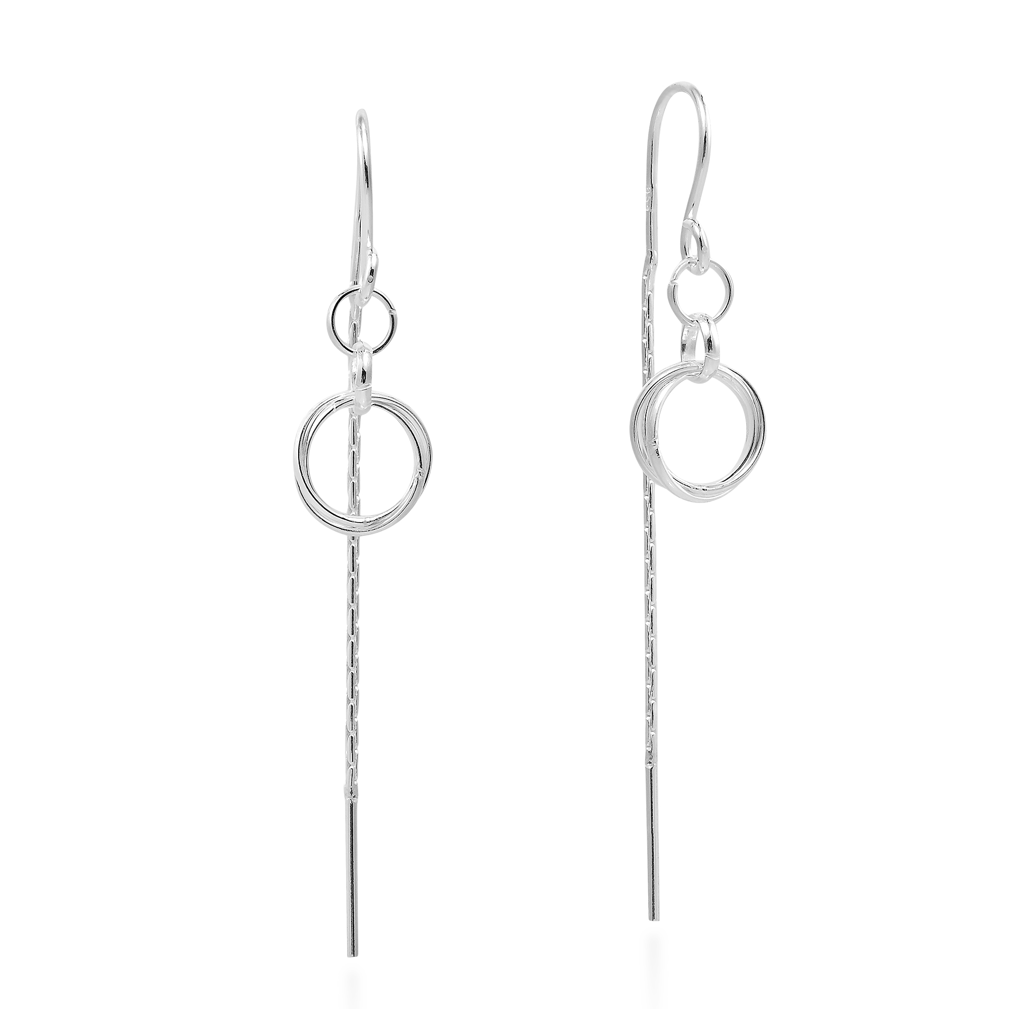 Thai Katsaya Handcrafted These Stunning Sterling Silver Earrings The Thread Style Earring Design Features Double Circles Linked Together