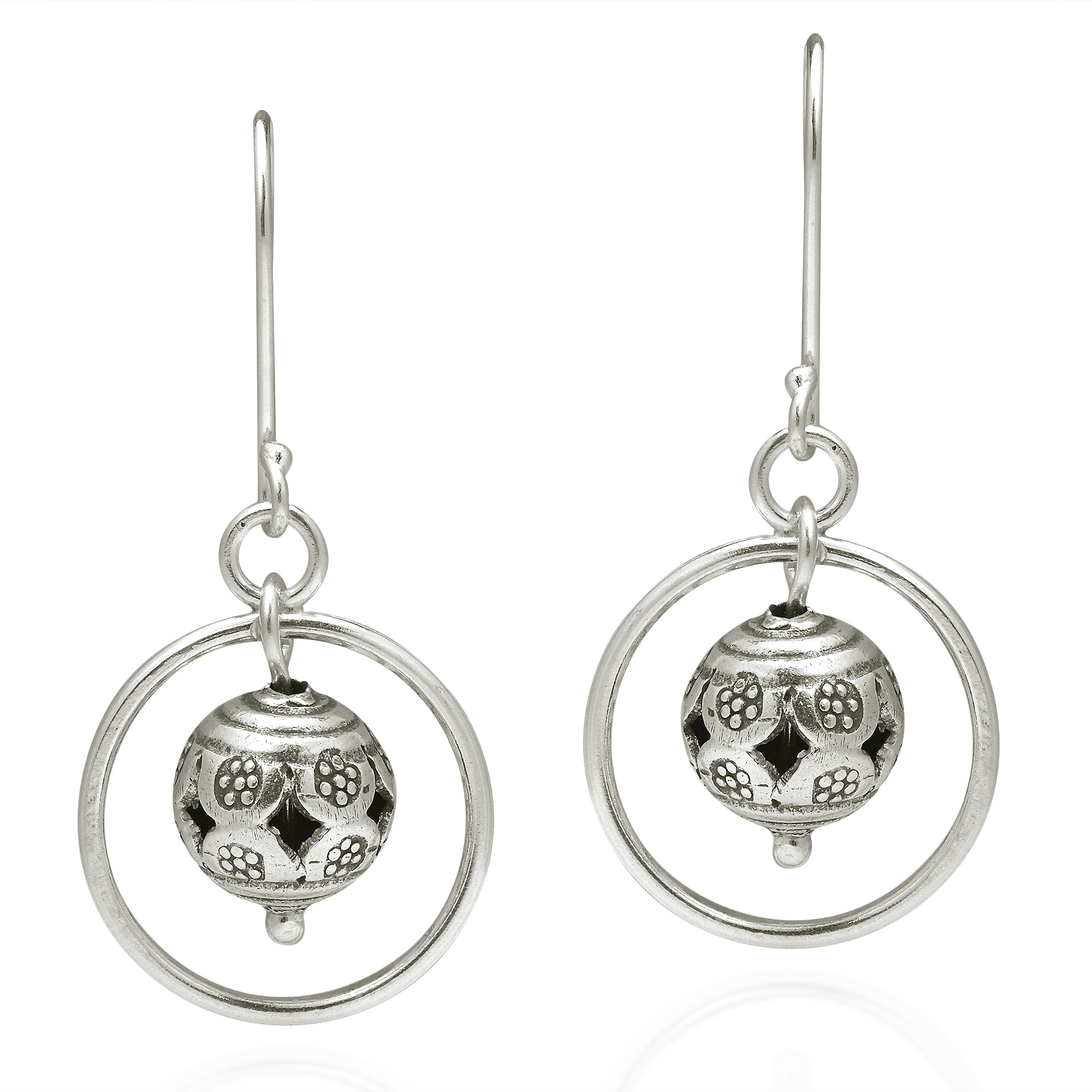 A Round Ball With Tribal Etchings Hangs In Artistic Beauty, Surrounded By  Circles In This Original Earrings By The Yao Hill Tribe The Earrings Were  Crafted