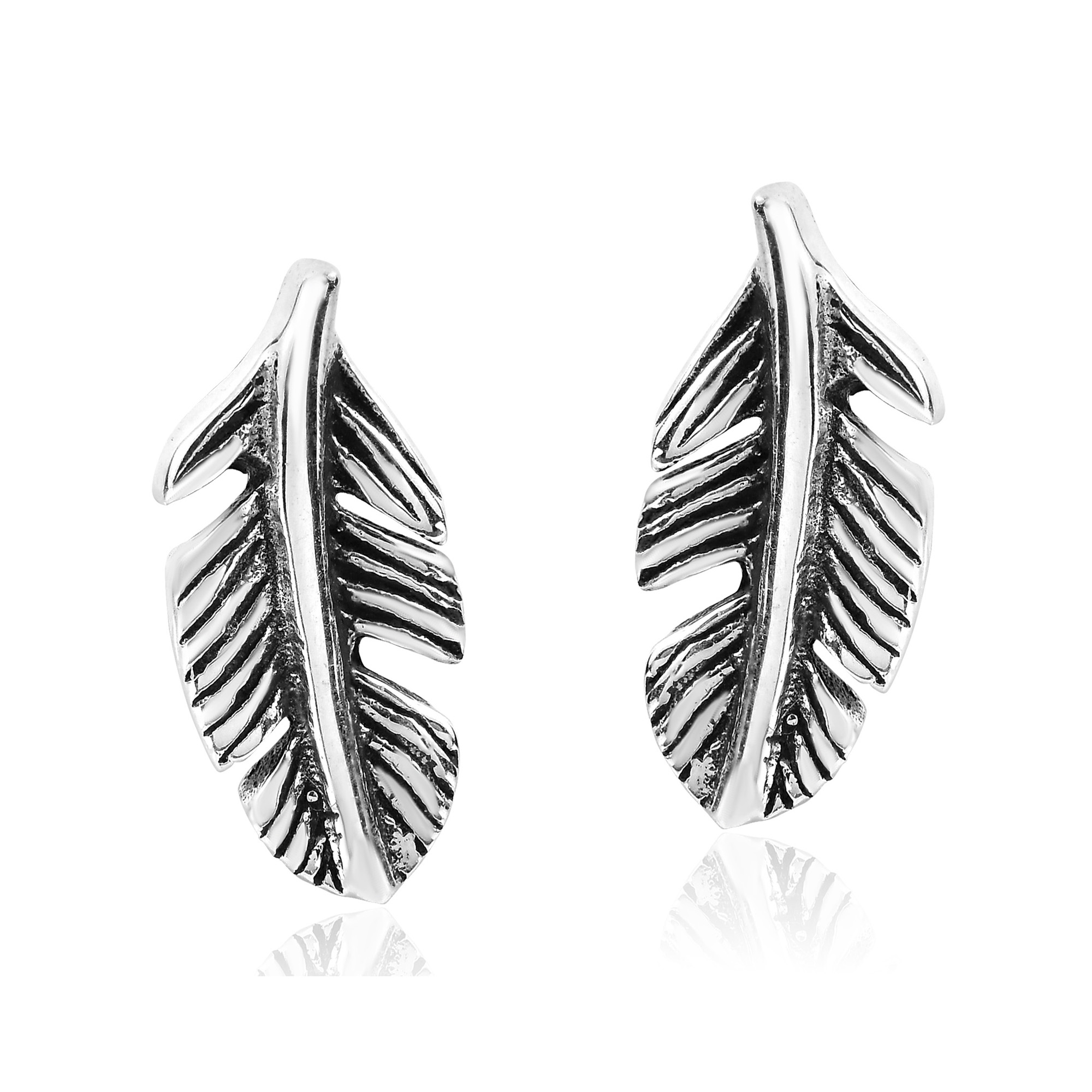 Cute and stylish sterling silver feather stud earrings aeravida the feather symbolizes many things for example the ability to fly and leave unwanted things behind feathers play an important role in native american buycottarizona Gallery