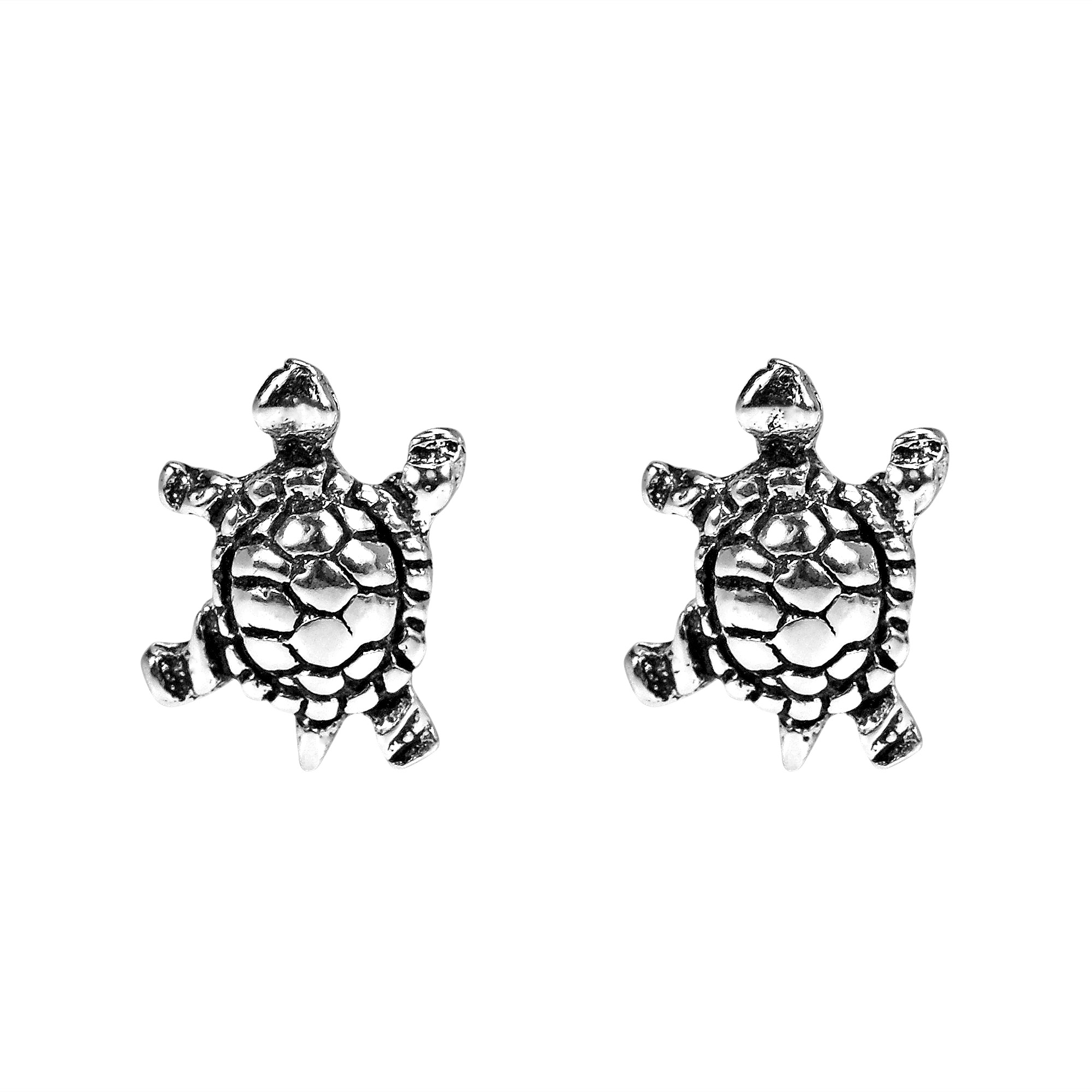 nauticalwheeler held silver earrings in image of sterling turtle product sea stud