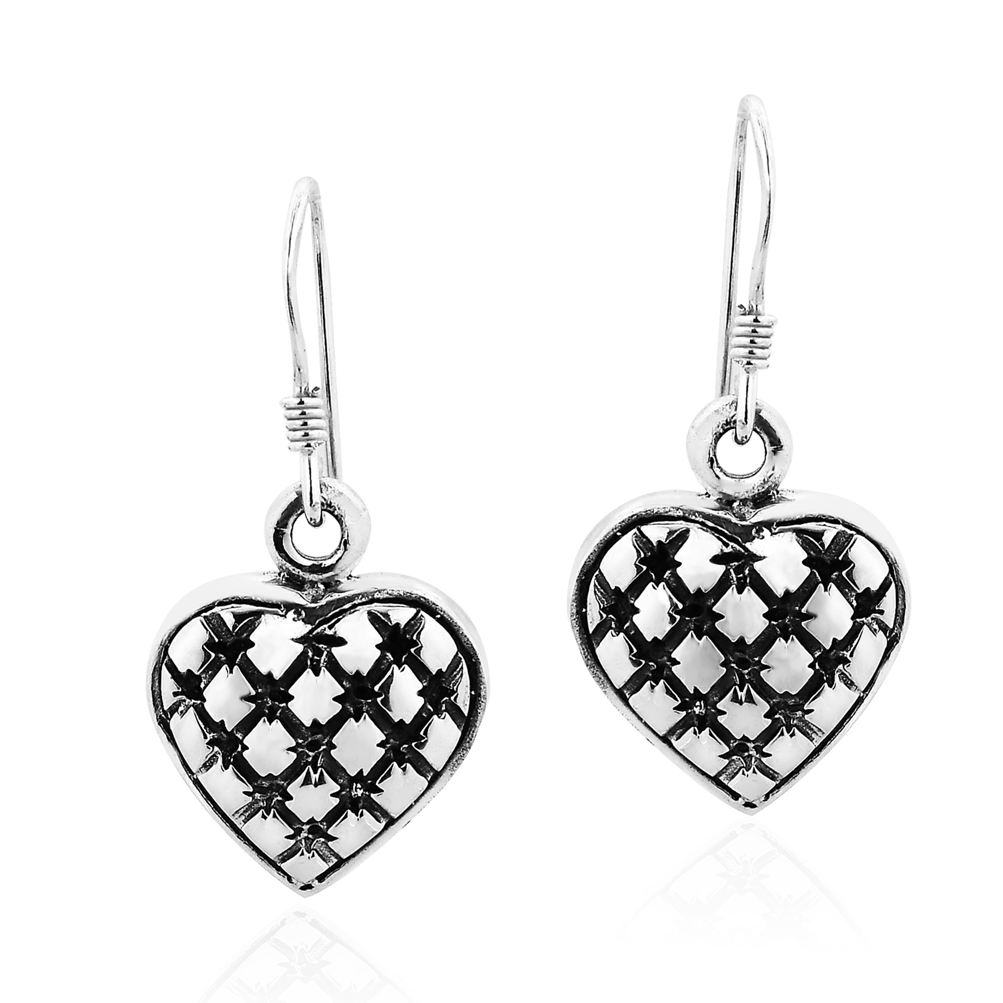 accented pe cute grid heart earrings through feature sterling these the design plain trendy details shaped to a with allows dangle contrasting silver pattern unique finishes come adorable shape products