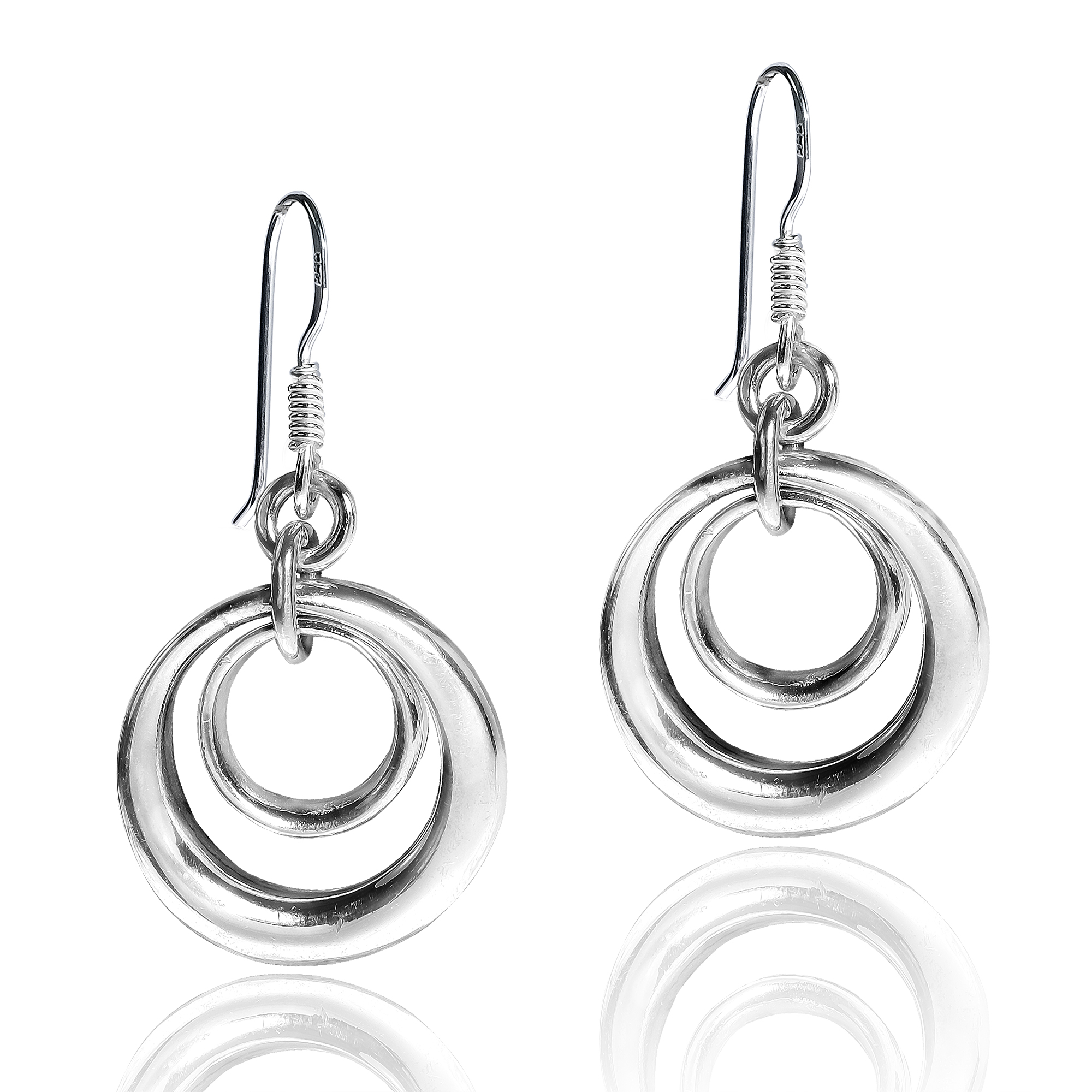 Concentric Circle Earrings: Trendy Open Concentric Circles .925 Sterling Silver Dangle
