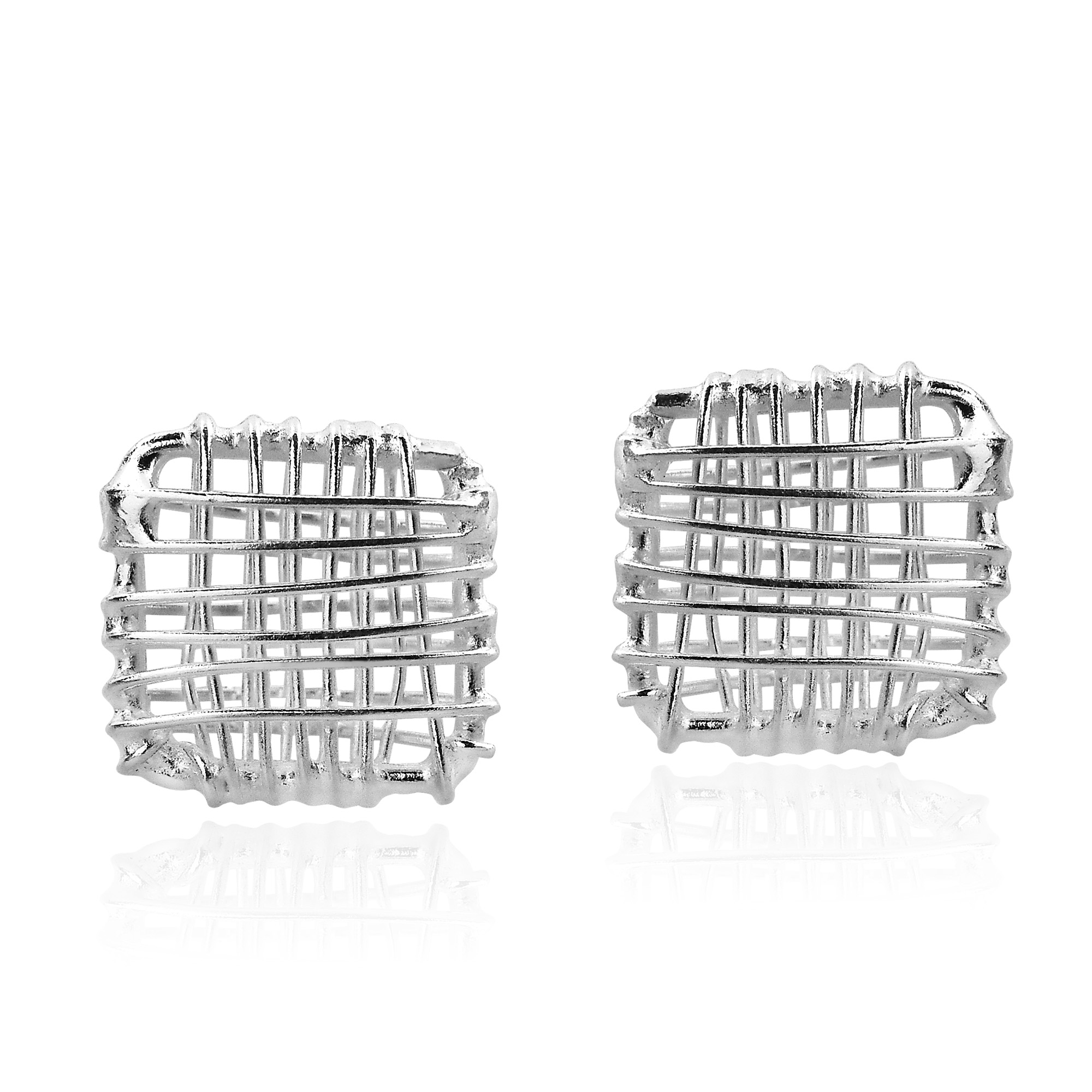 Open Square Wire Wrap Sterling Silver Post Earrings - AeraVida