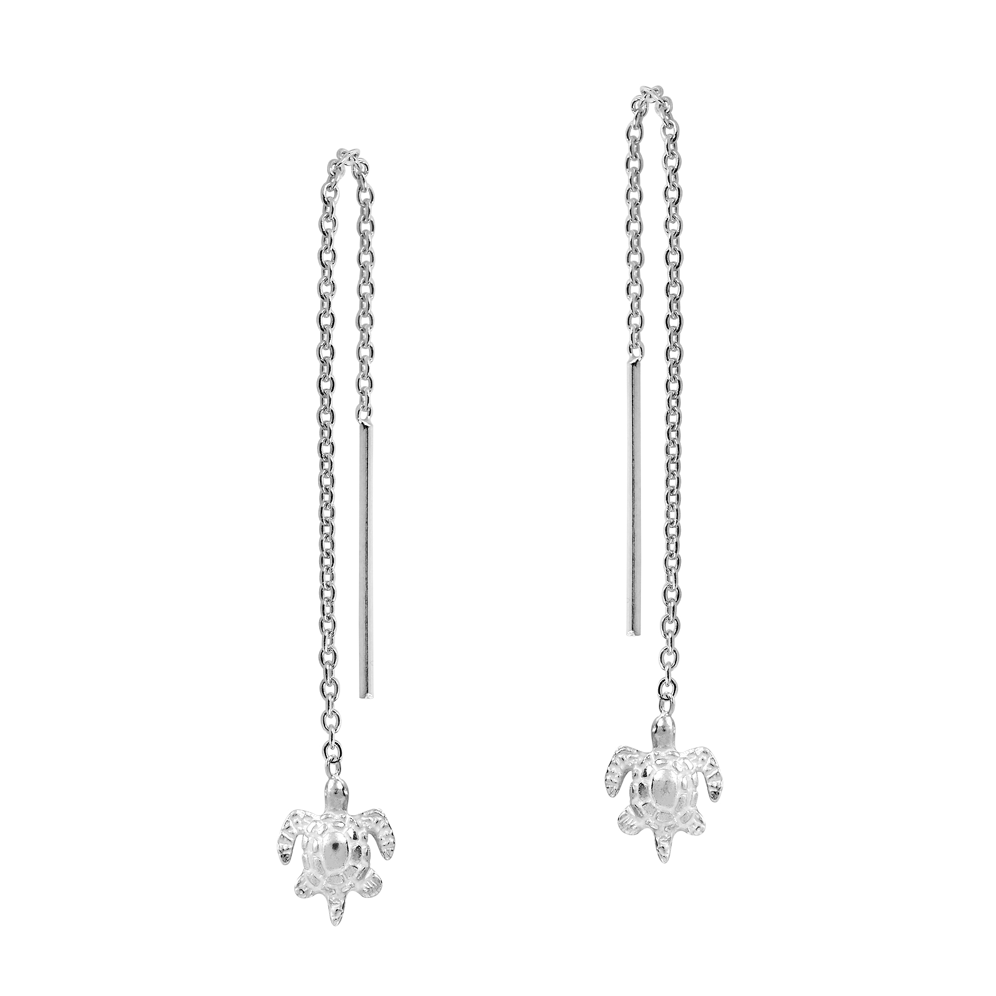 Sleek And Alluring These Earrings Feature Cute Sea Turtle Charms That Dangle From A Sterling Silver Chain Upon Slide Thru Post
