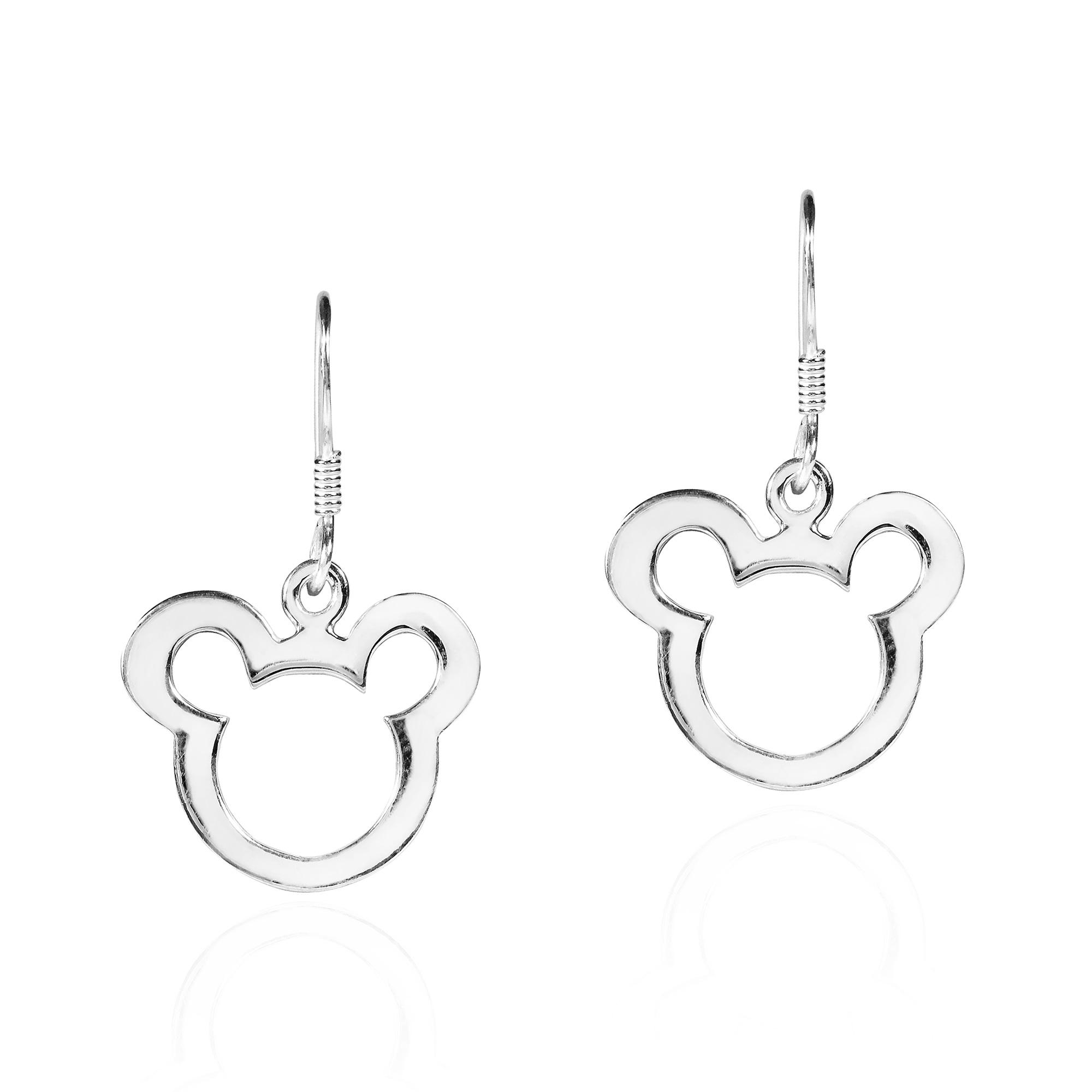 Cute Mickey Mouse Sketch Sterlng Silver Dangle Earrings Plain