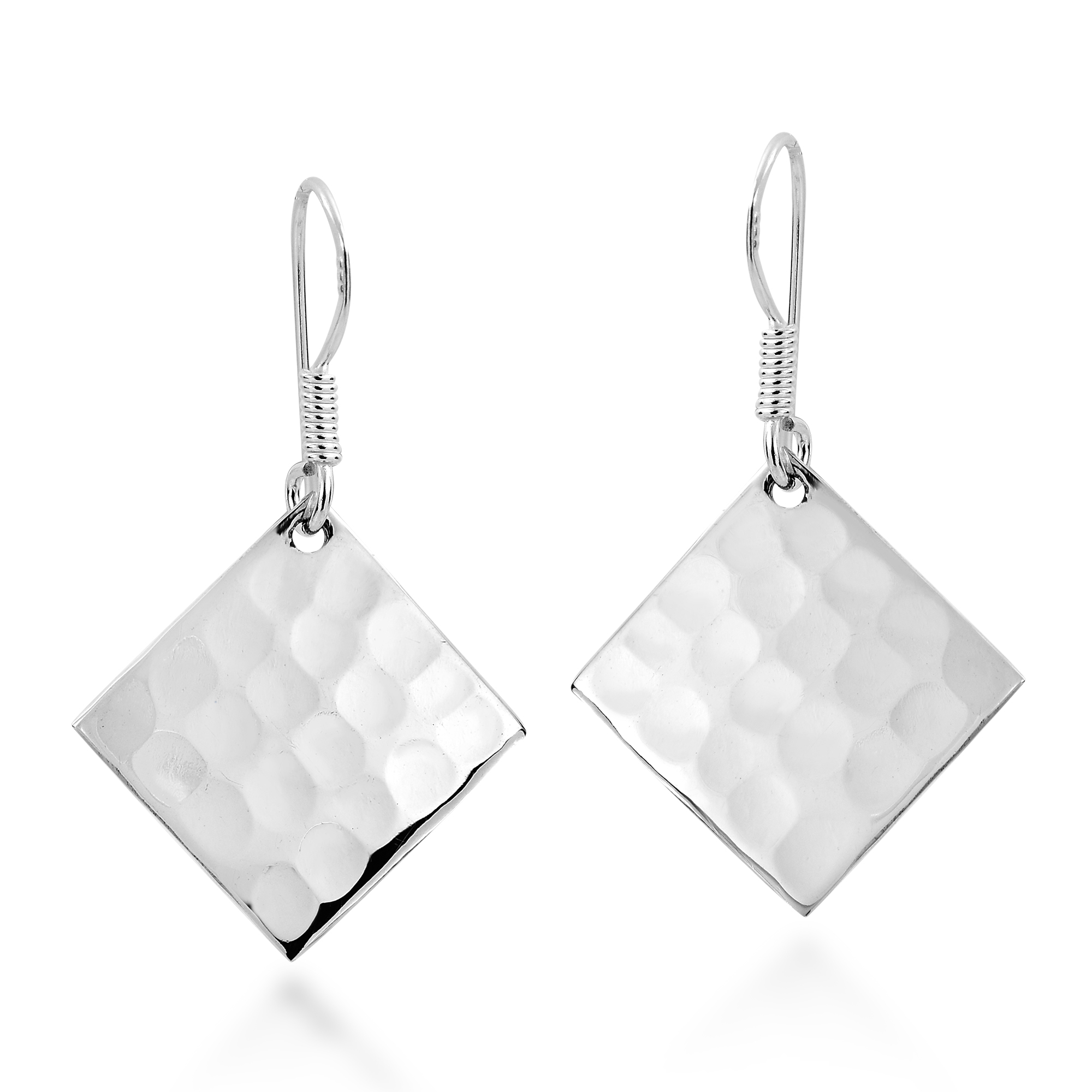 Hammer Texture Tilted Square .925 Silver Earrings - AeraVida