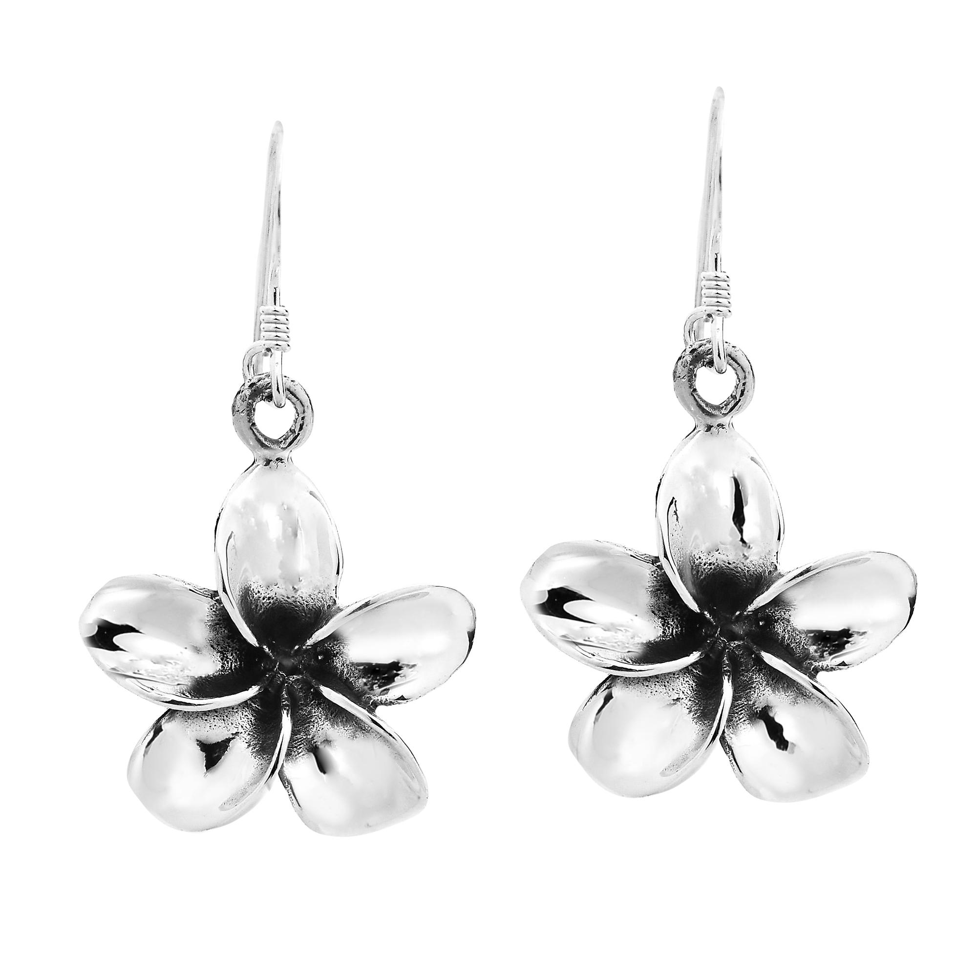 Tropical Paradize Plumeria Flower Sterling Silver Dangle Earrings