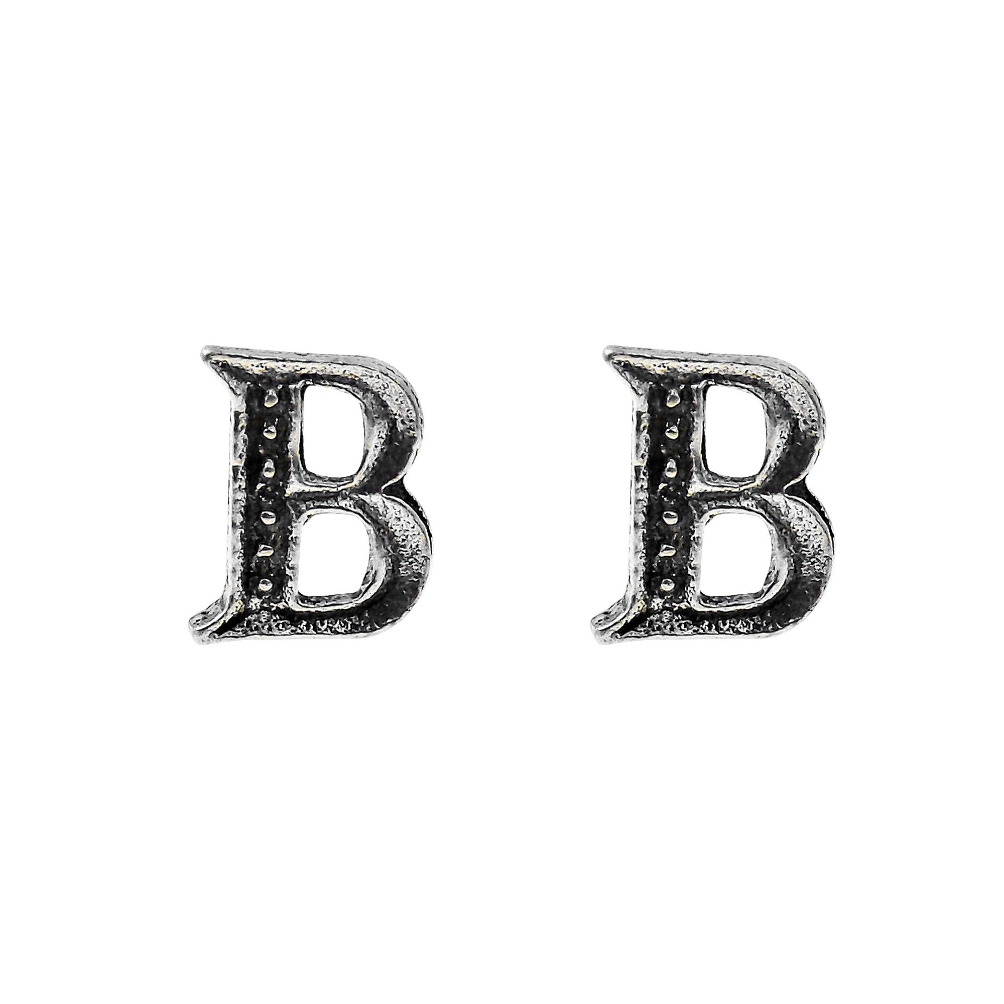 simple stylish sterling silver letter b stud earrings aeravida