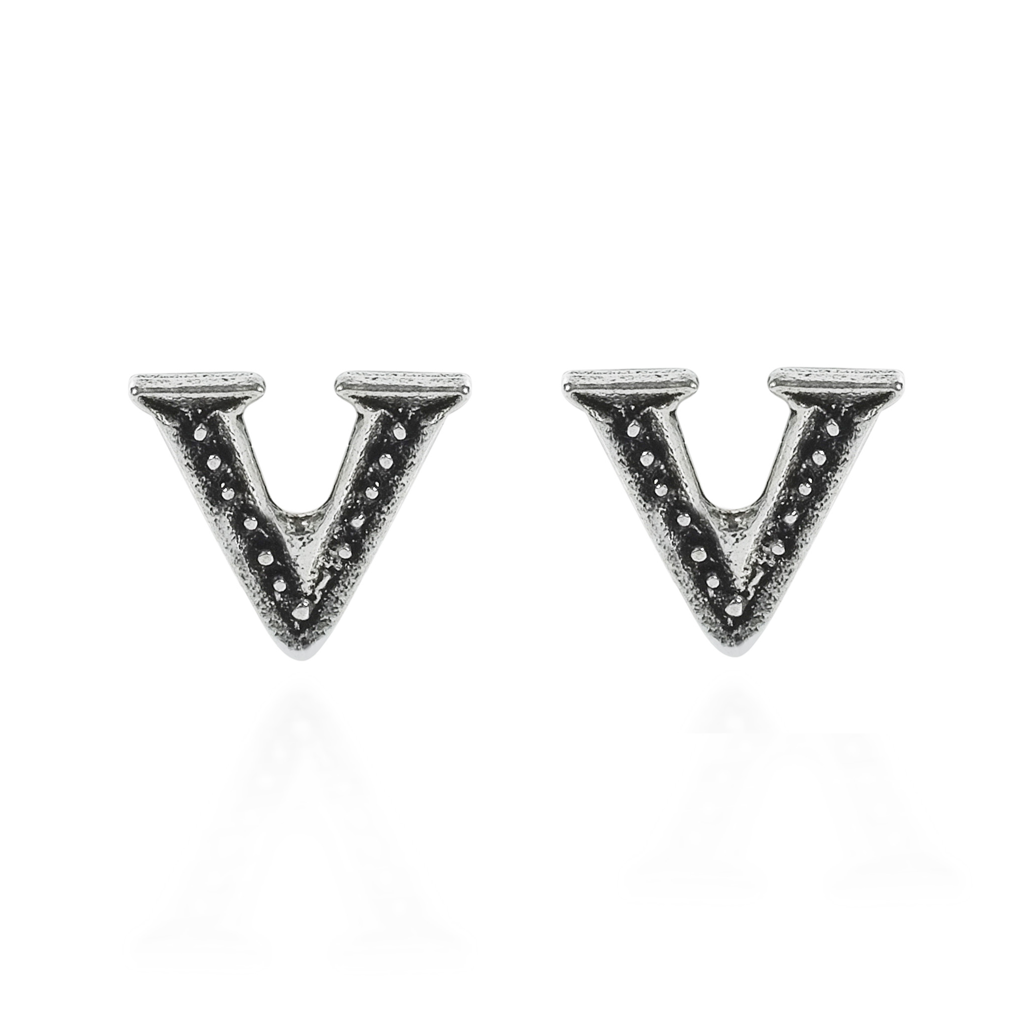 these this feature letter alphabet cool v stylish simple plain in silver aeravida yet pair pe are handmade sterling details every earrings of a stud the products available