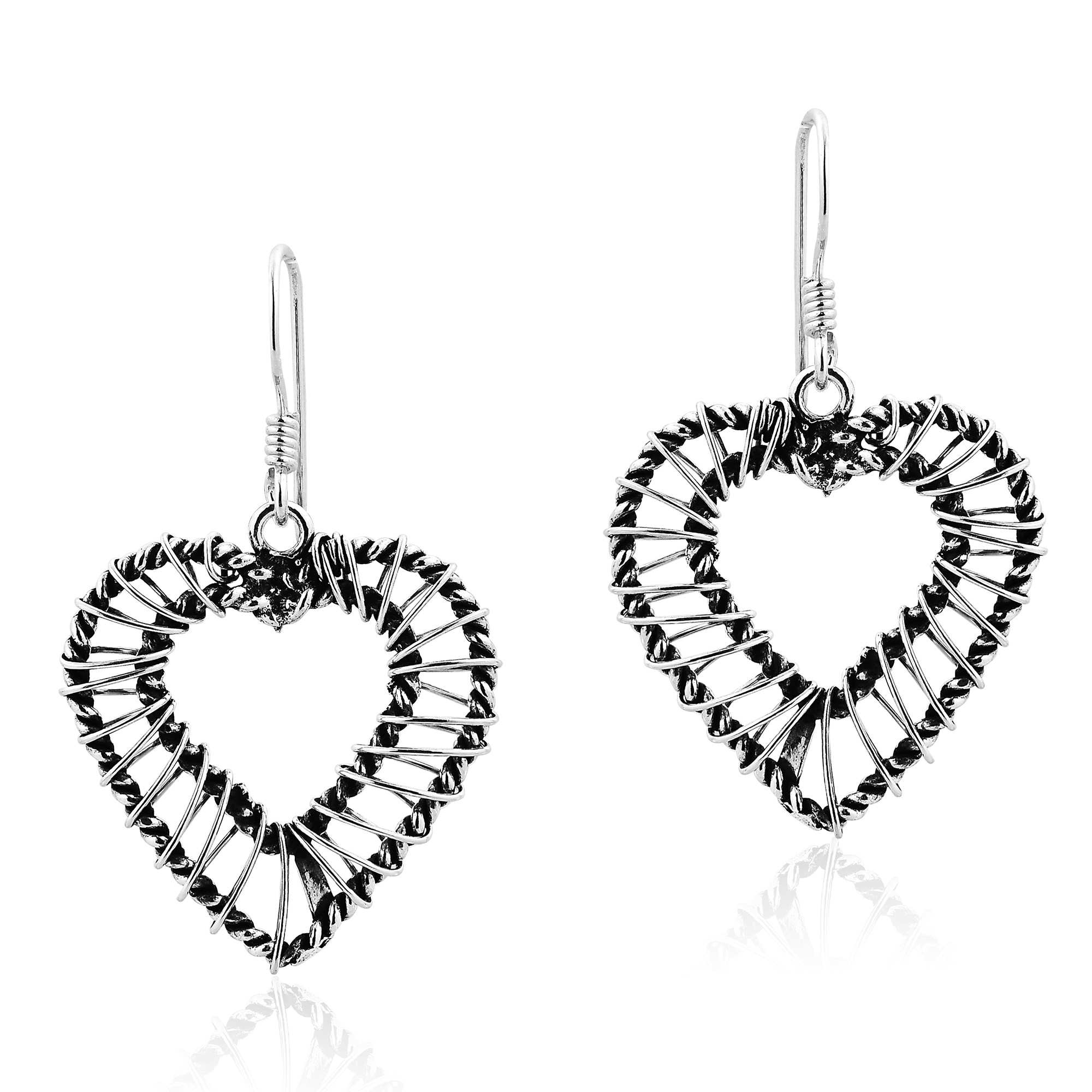 Modern Sleek Sterling Silver Wire Wrap Around Heart Dangle Earrings ...