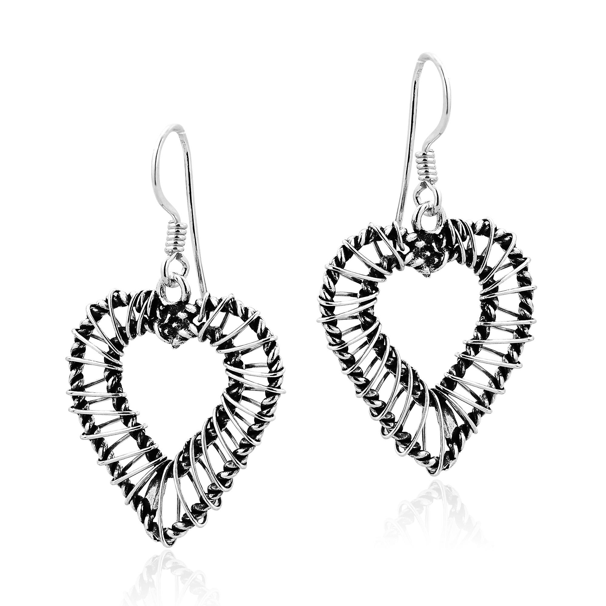 Modern Sleek Sterling Silver Wire Wrap Around Heart Dangle Earrings ...