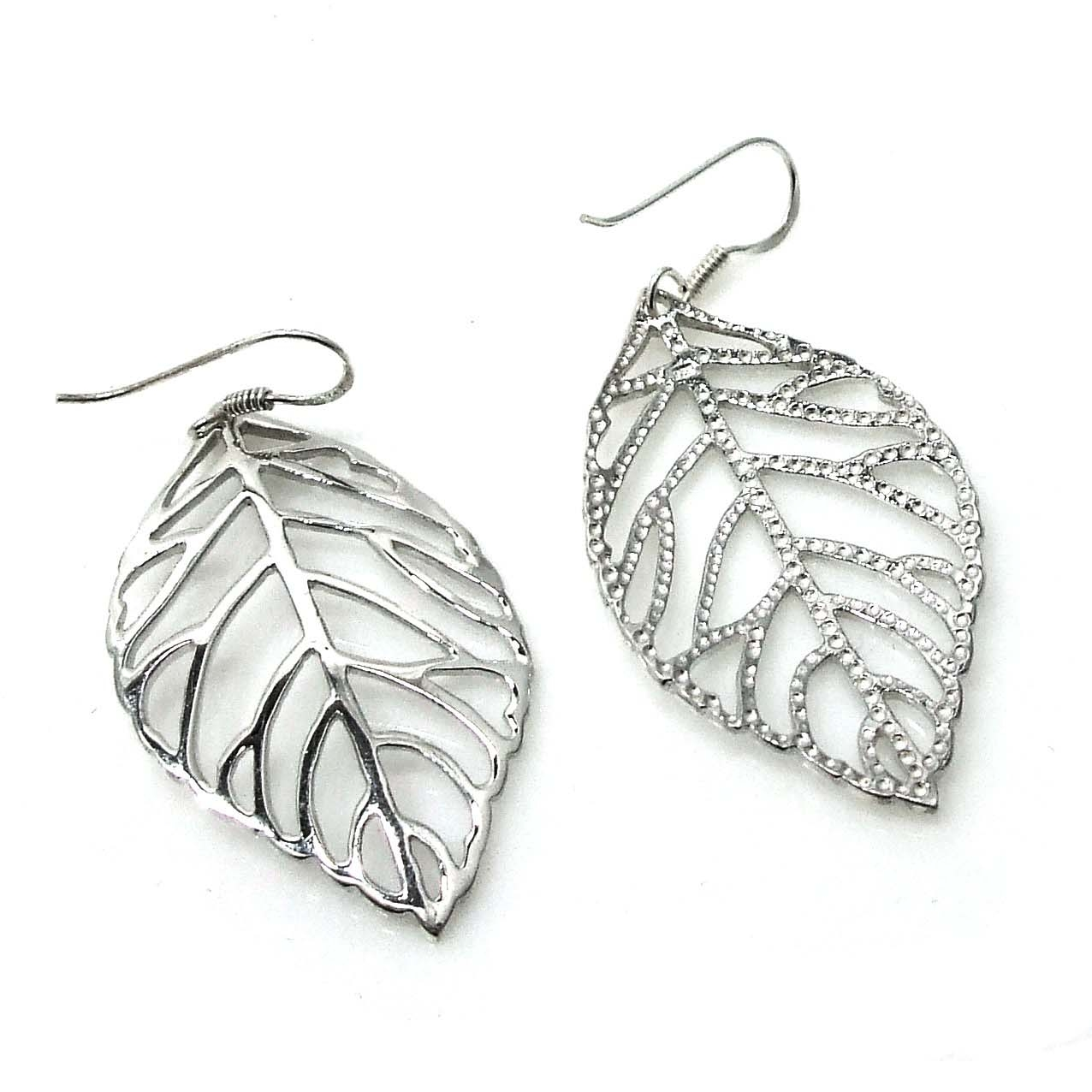 pretty outline leaf sterling silver dangle earrings aeravida