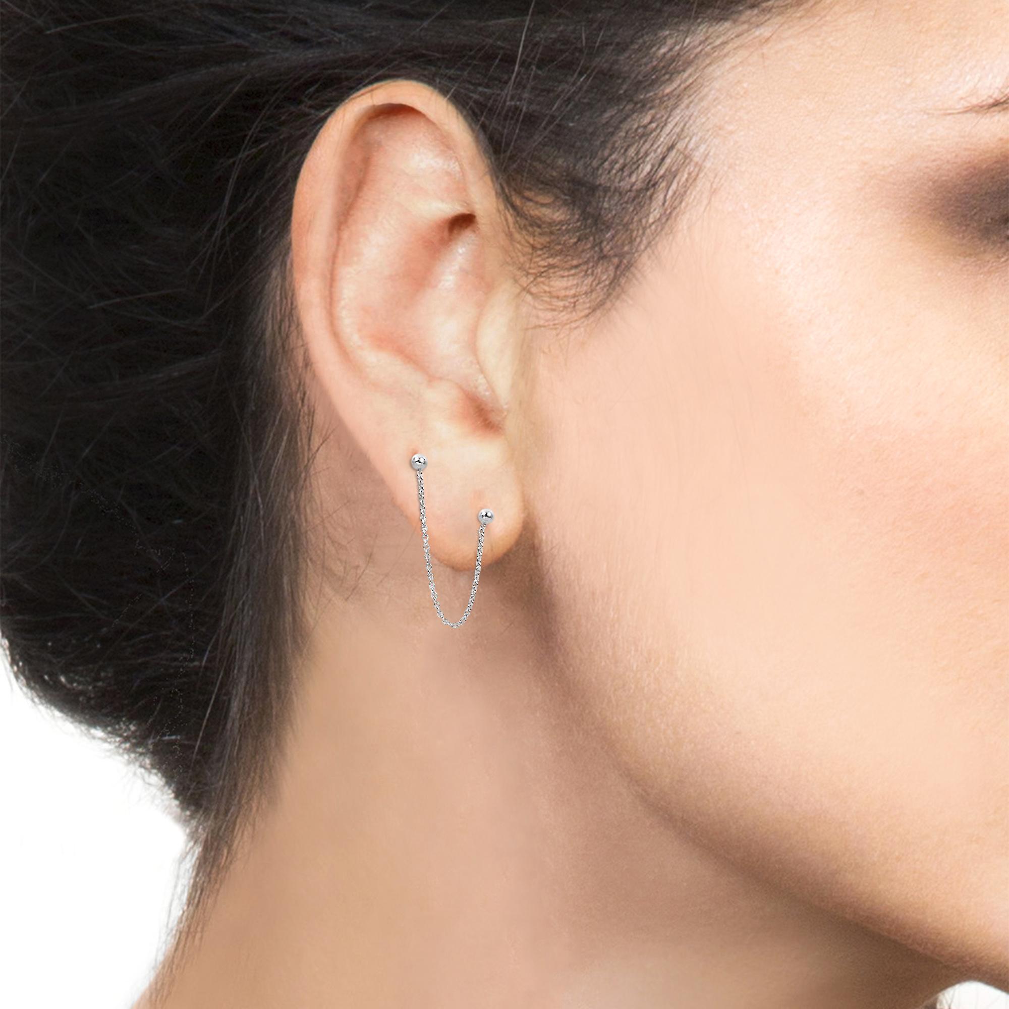 Rare Double Ball Pierced Chain 925 Silver Earrings Aeravida