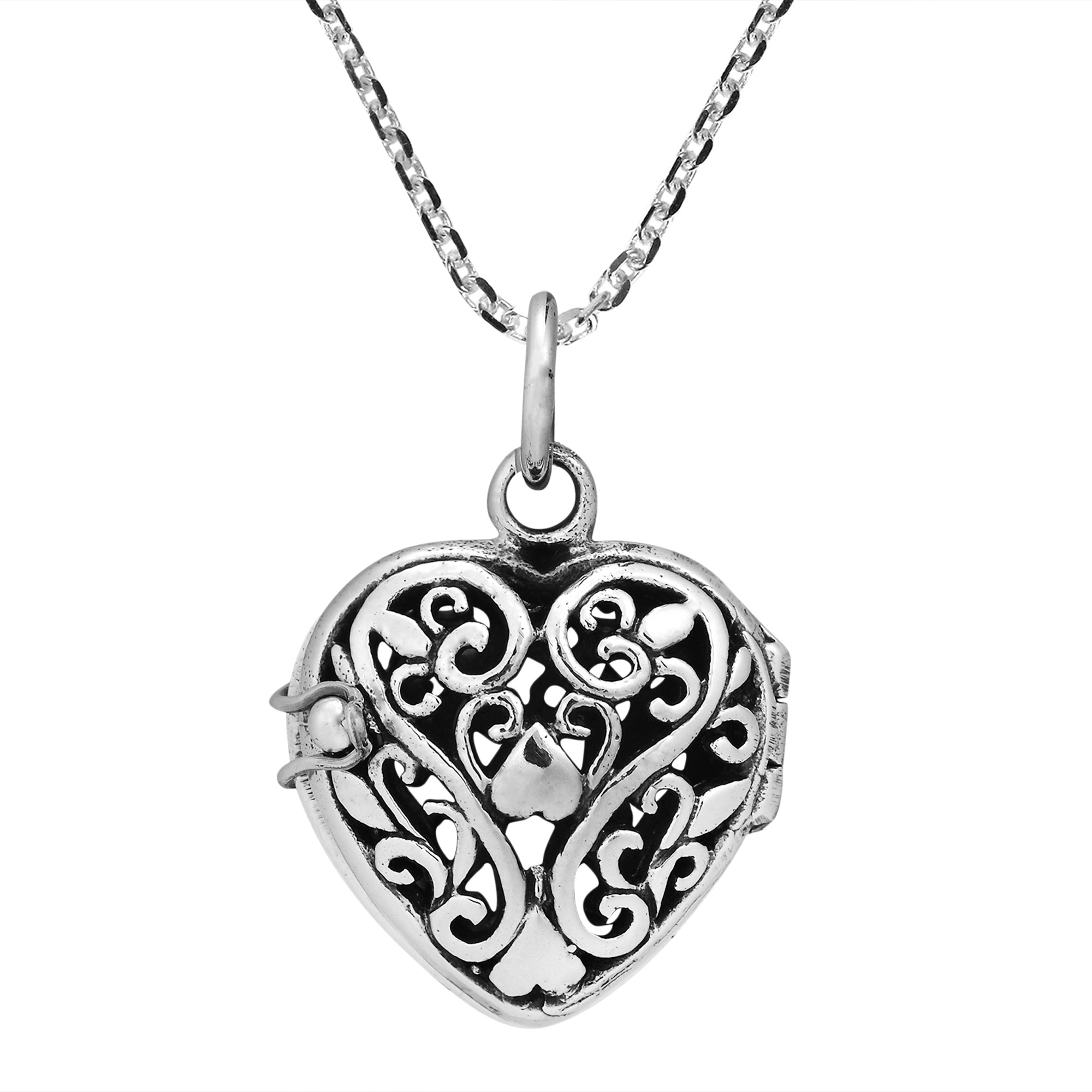 Romantic filigree heart locket sterling silver necklace aeravida filigree swirls embodies the heart design of this locket give your style a romantic twist with this necklace from thailand this necklace includes an mozeypictures Image collections