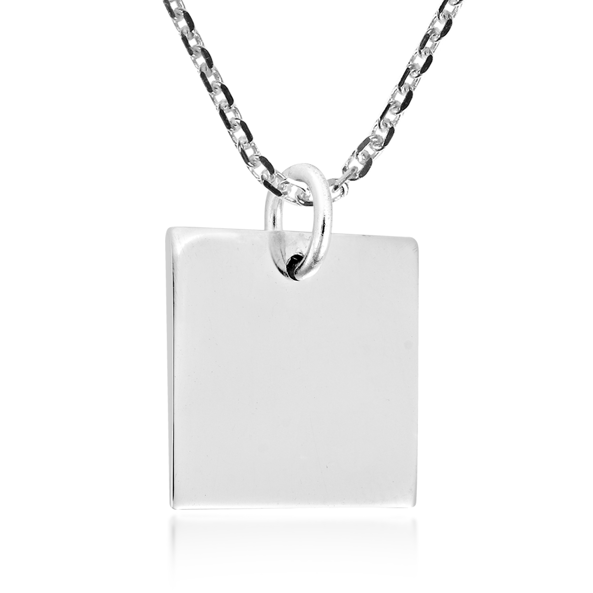 polished highly on necklace gold pillow in chain silver product pendant square plated sterling