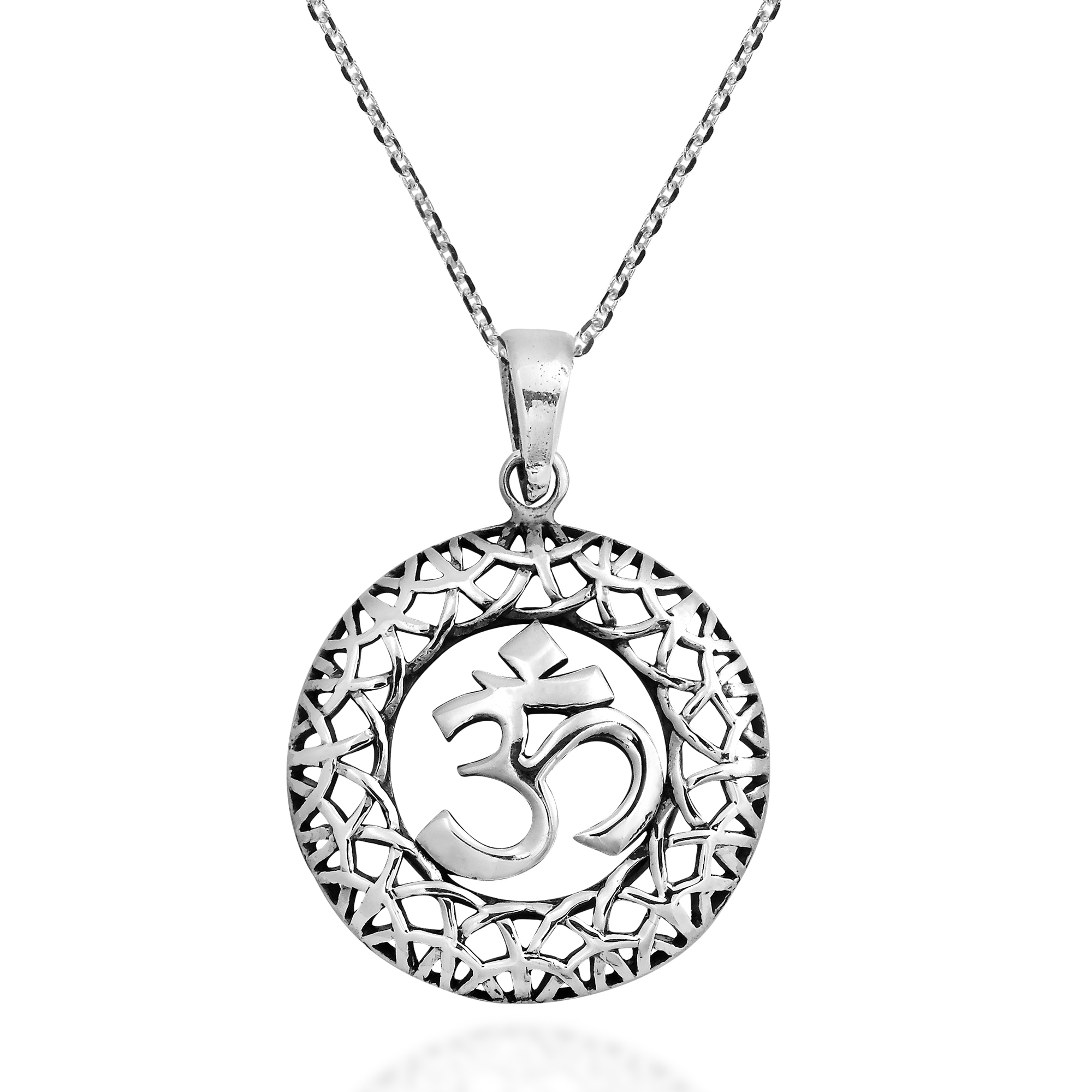 Intricate weave aum or om symbol sterling silver necklace aeravida the design features an 18 inch chain with a circular om aum pendant the om or aum is an ancient symbol of aloadofball Gallery