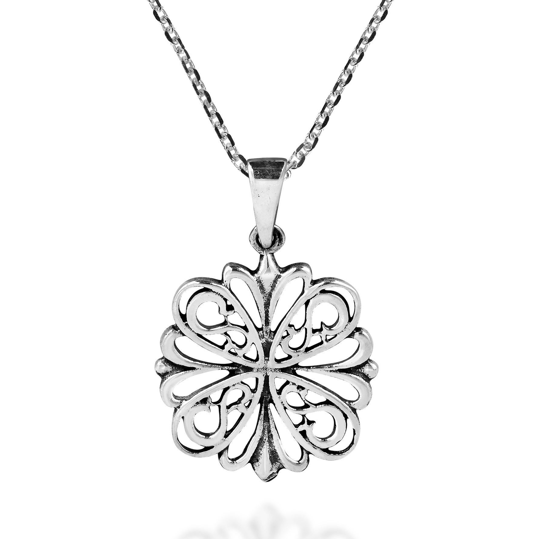 Geometric Flower of Life 925 Sterling Silver Necklace AeraVida