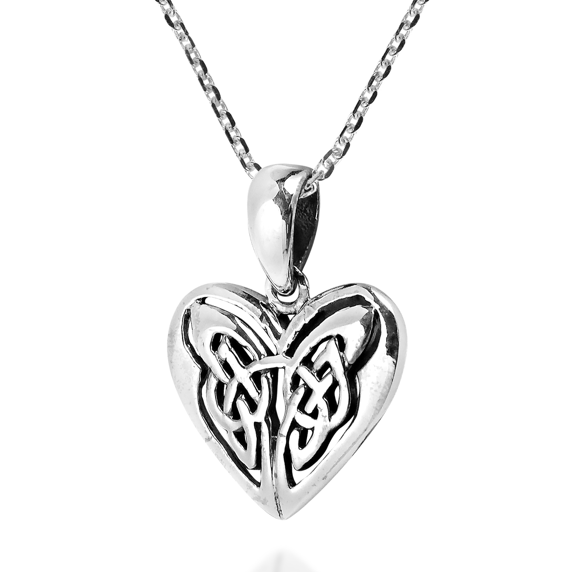 Stunning endless love celtic knot heart sterling silver necklace this unique piece features the endless knot symbol enclosed within a heart representing eternal love or unity biocorpaavc Images