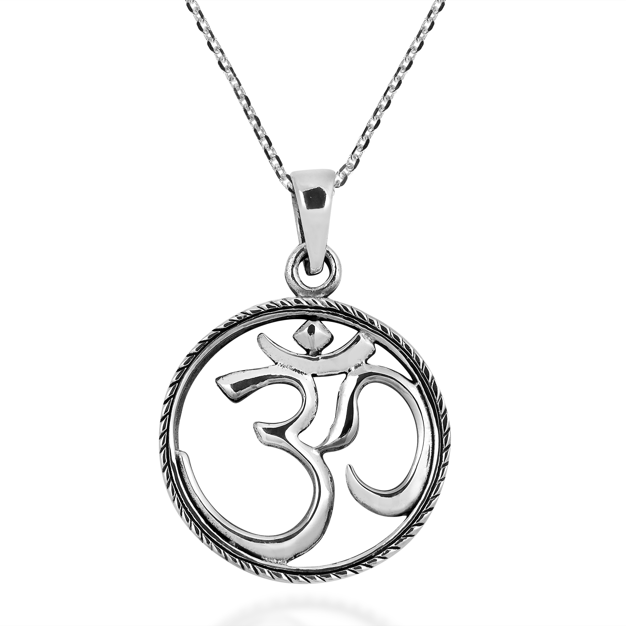 Braided Circle Aum Or Om Sacred Symbol Sterling Silver Necklace