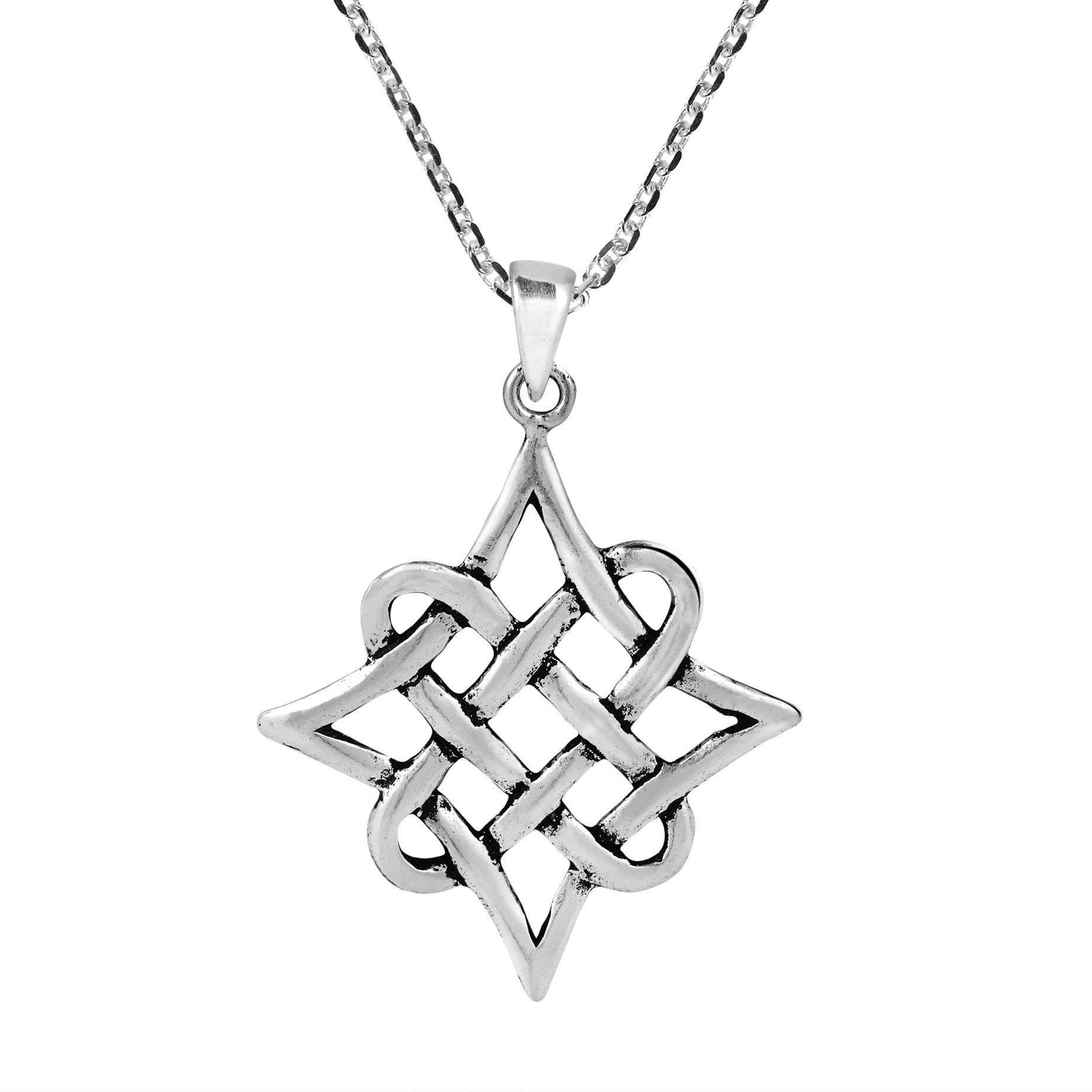 Quaternary celtic knot eternity sterling silver necklace aeravida the quaternary celtic knot embodies the design of this artisan crafted sterling silver necklace the quaternary celtic knot has four corners which could biocorpaavc