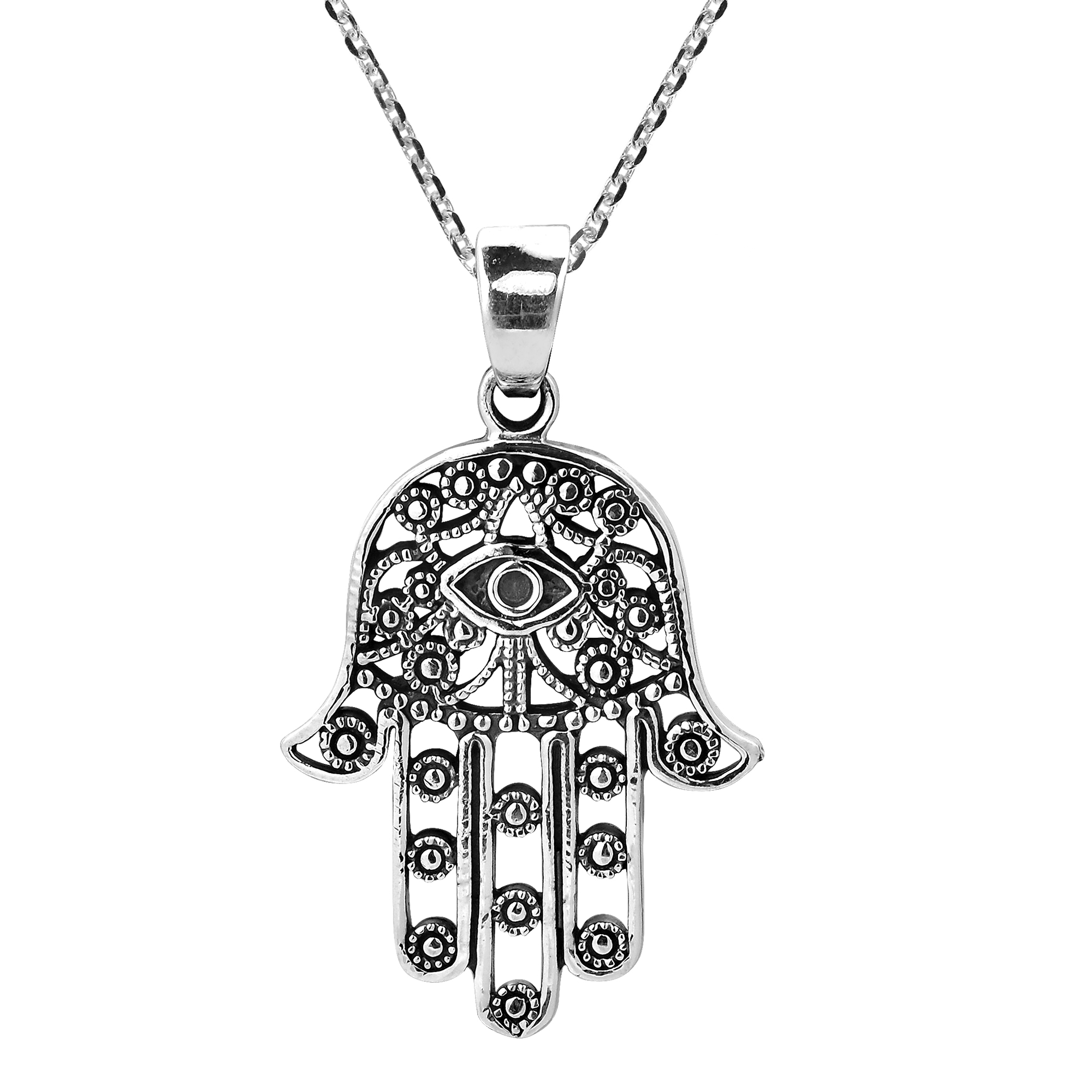 Henna Hamsa Hand Of Fatima With Evil Eye Sterling Silver Necklace